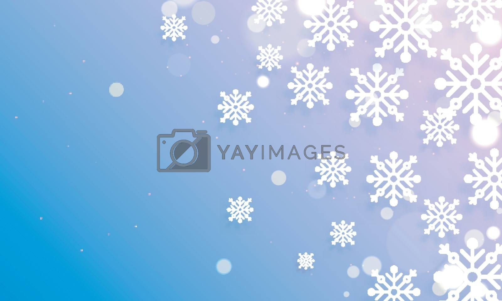 Snowflake decorated on glossy purple background with space for your text.