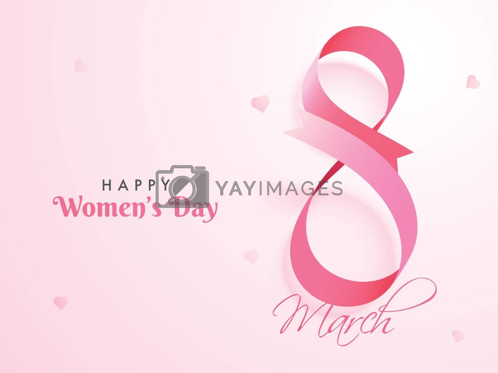 Glossy pink ribbon arranged in text eight on glossy pink background. Happy Women's Day poster greeting card design.
