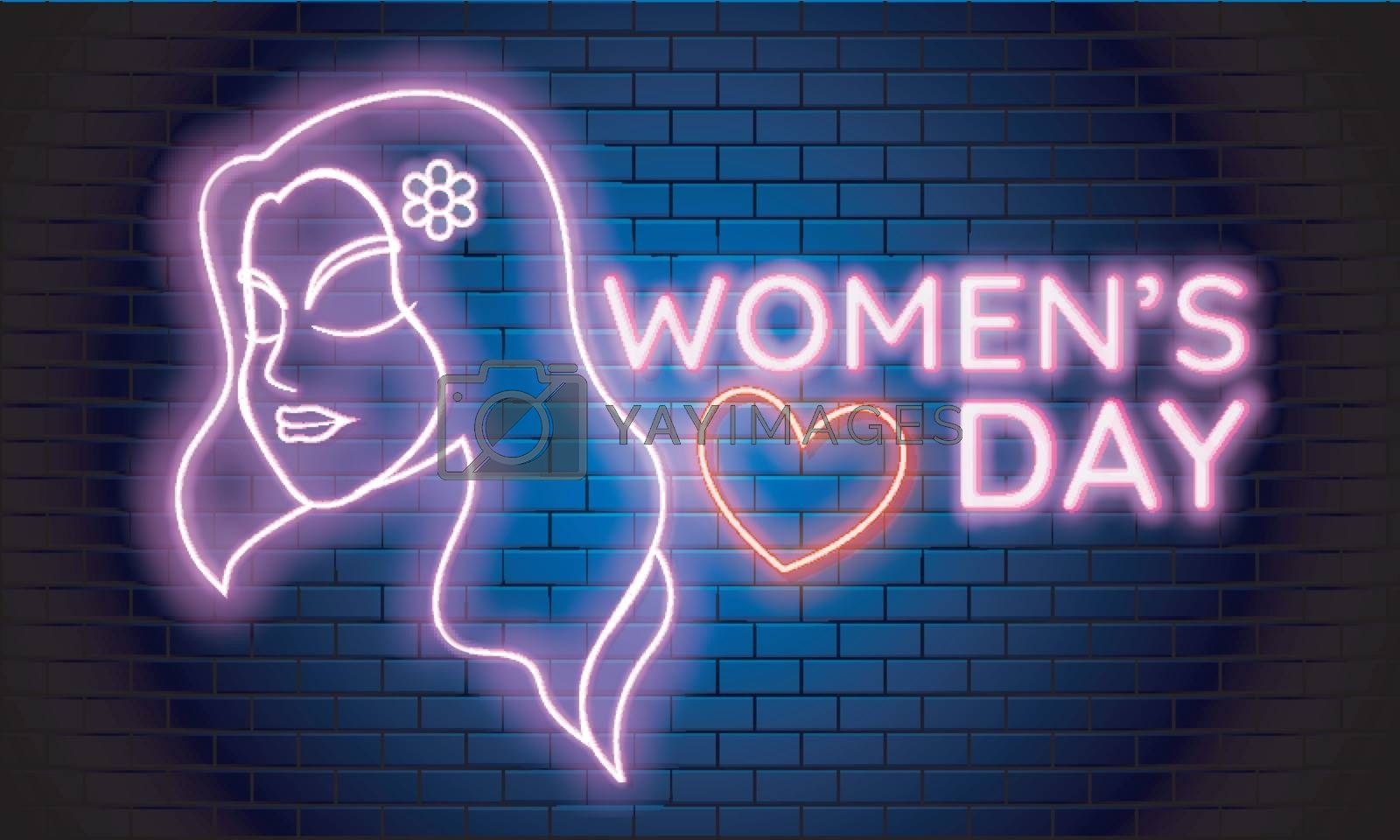 Neon light effect women's day text with beautiful girl face on blue brick wall background.