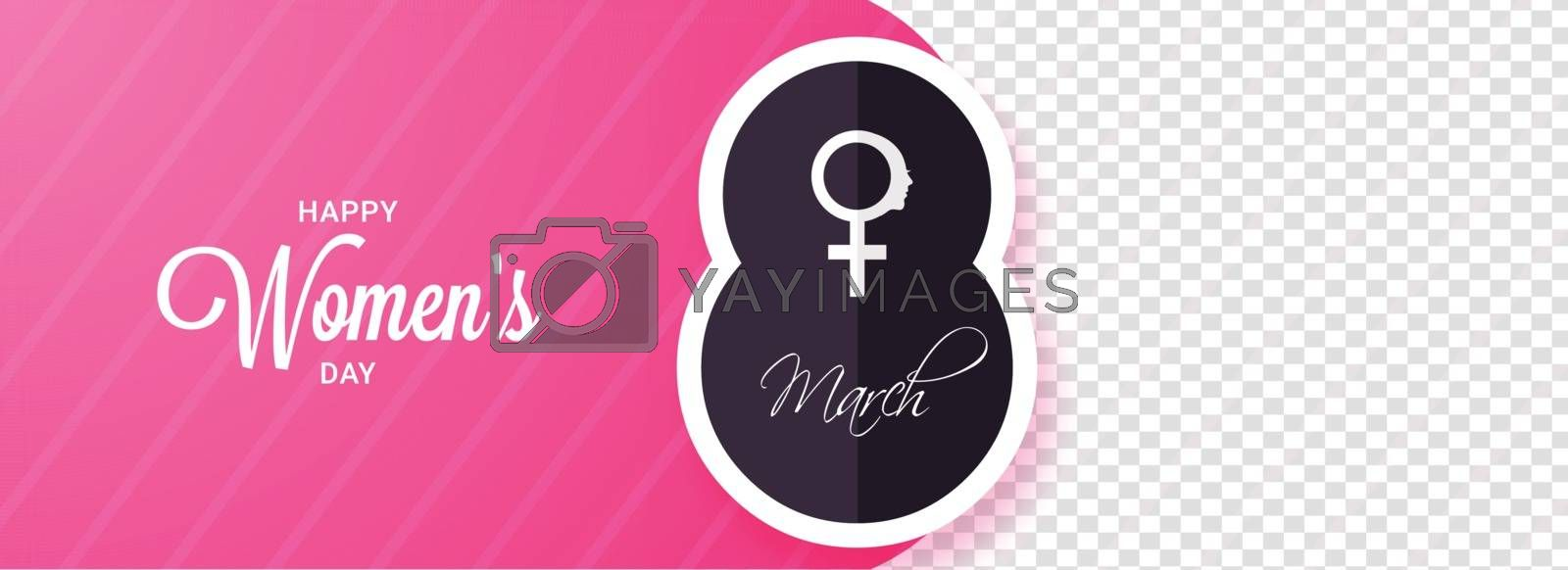 Happy Women's Day celebration header or banner design with space for your image.