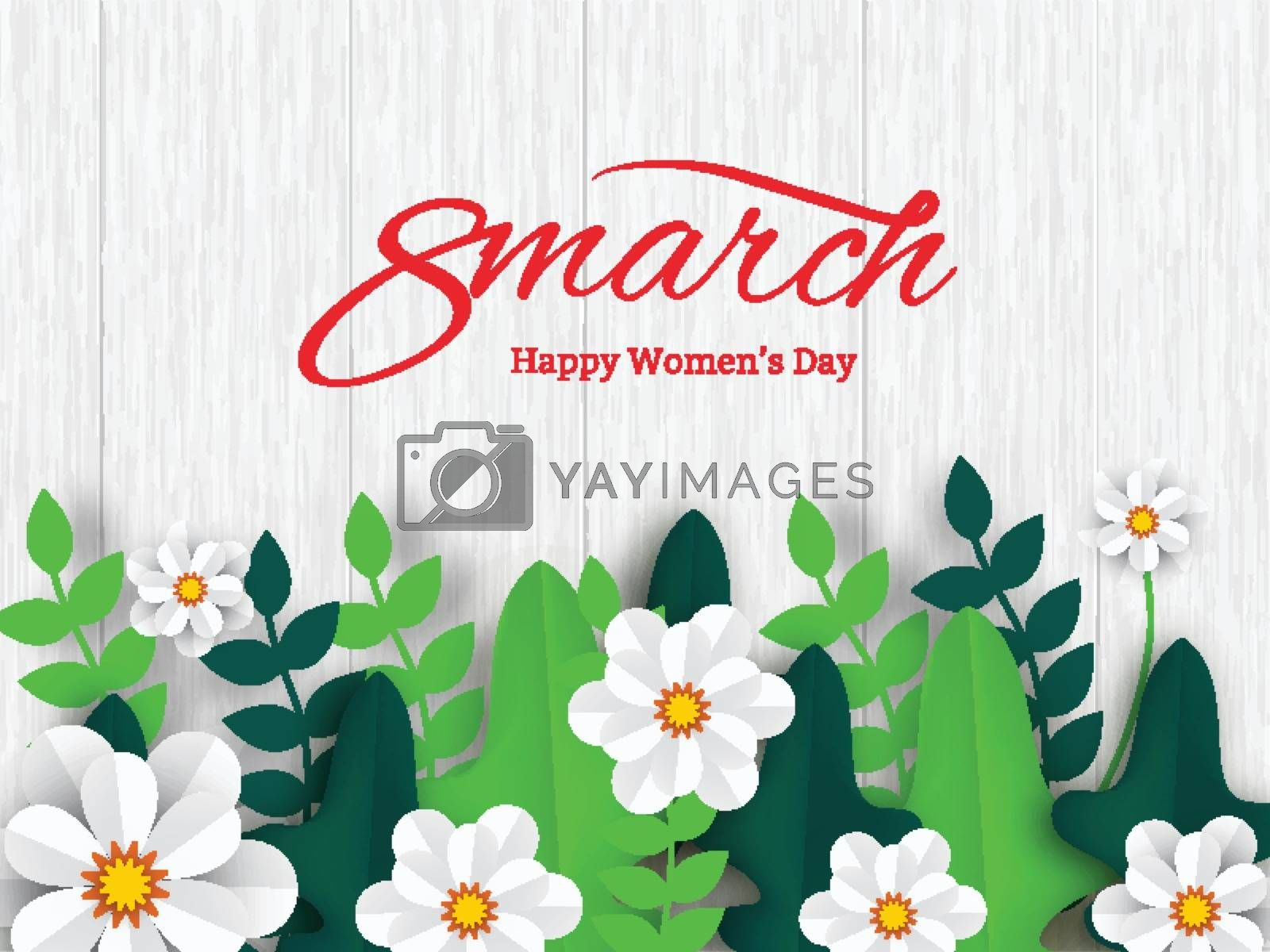 Stylish lettering of 8 march on wooden texture background decorated with paper flower for Women's Day celebration poster or banner design.