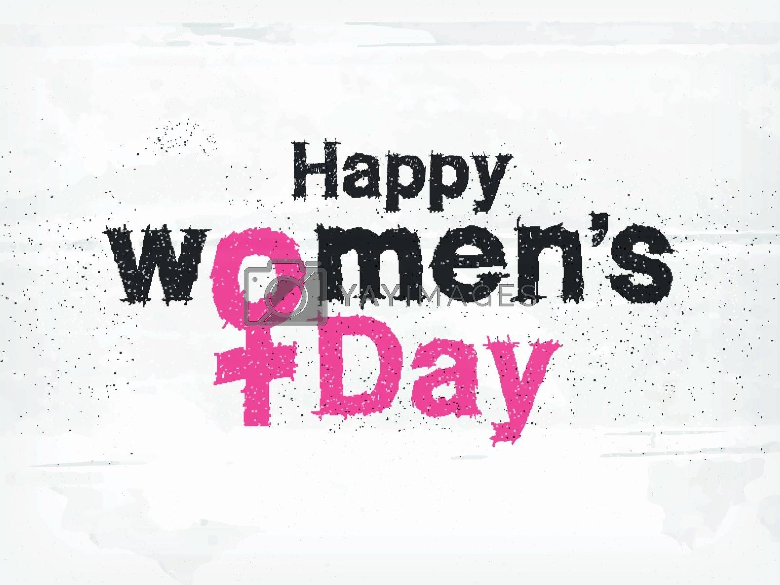 Scribble text Happy Women's Day on white texture background. Can be used as poster or banner design.