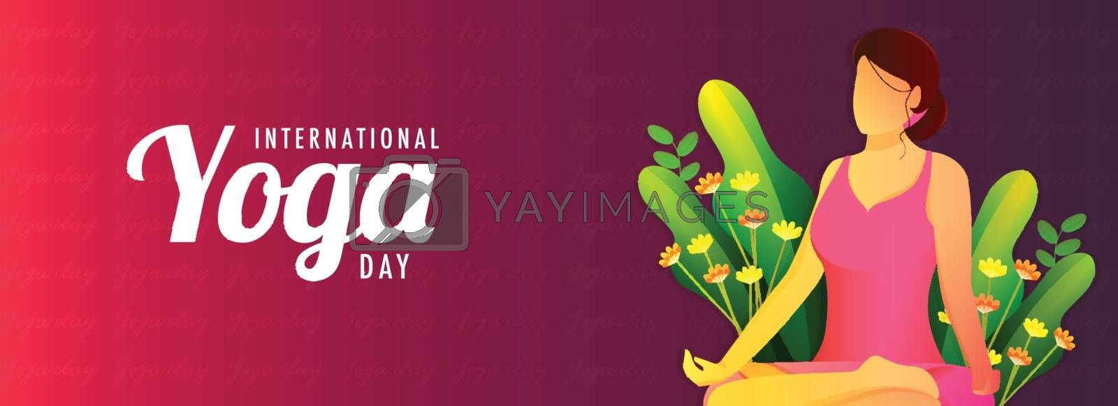 Website header or banner design for International Yoga Day. Cartoon character of a faceless woman doing meditation on red abstract background.