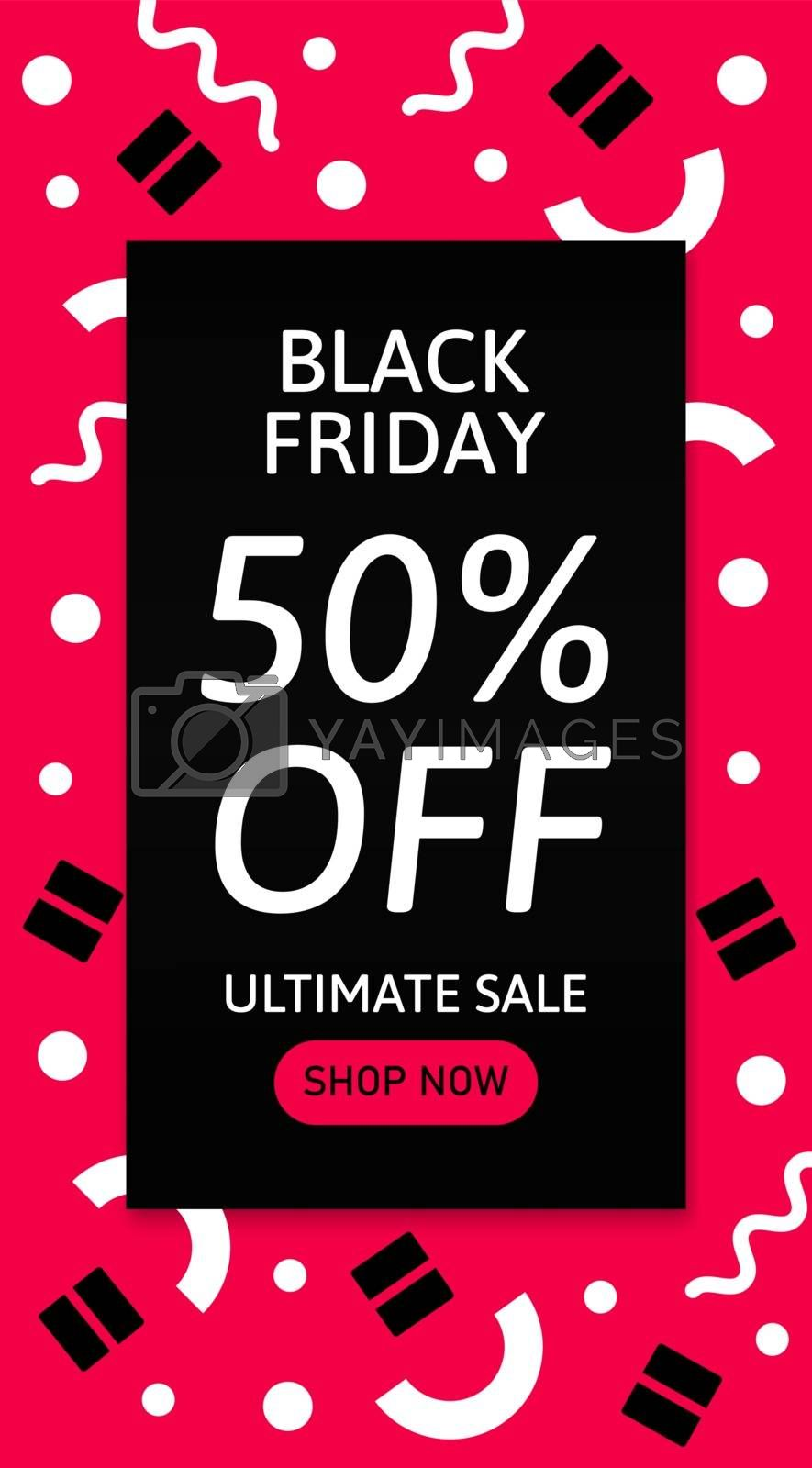 Design template card with geometric elements and text. Black Friday. Ultimate sale. Shop now.