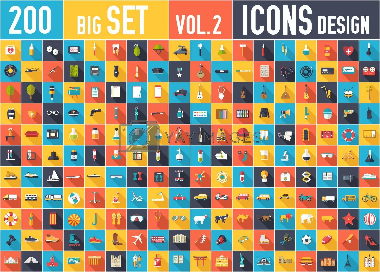 Vol. 2 Flat big collection set icons of medical, army, war, shoe, nature, news, draw, police, rafting, room, science, boat sport gym car animal summer tool country For infographic design