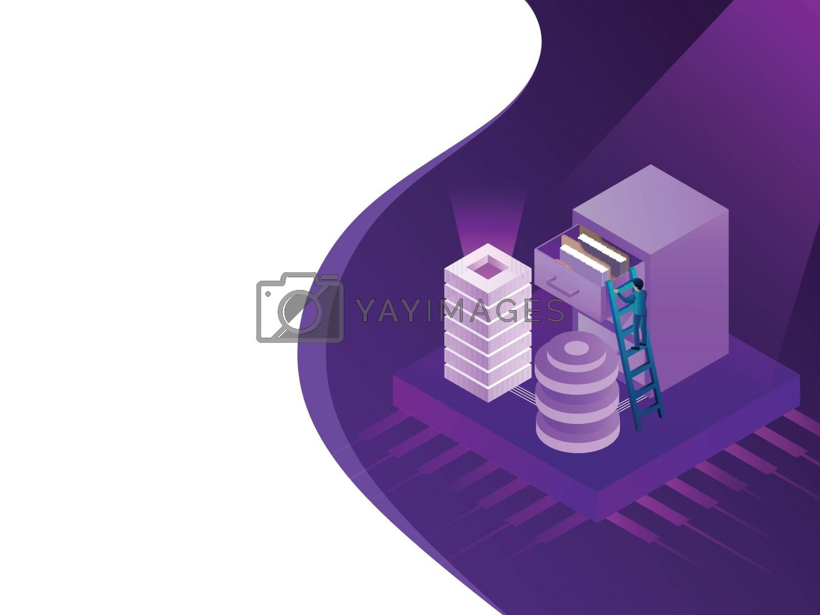 Isometric illustration of processor chip with web servers, miniature business people maintaining file folder for data center or storage concept.