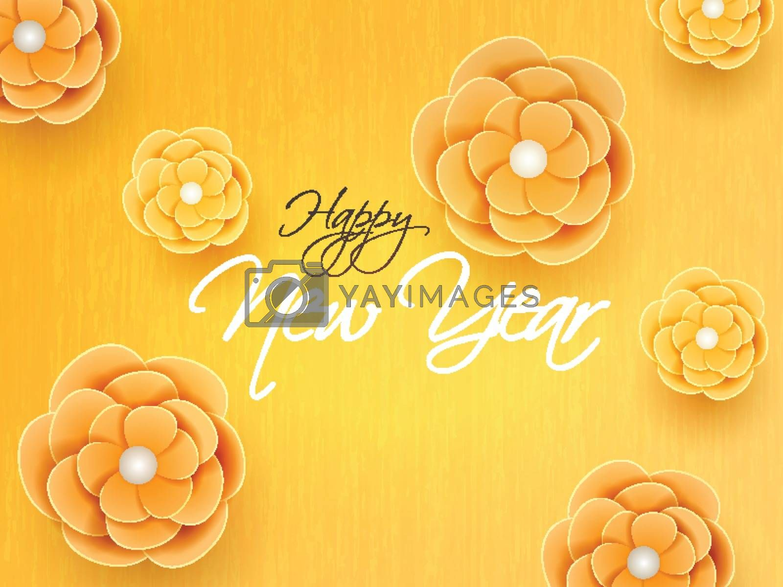 Happy New Year background decorated with flowers in yellow color.