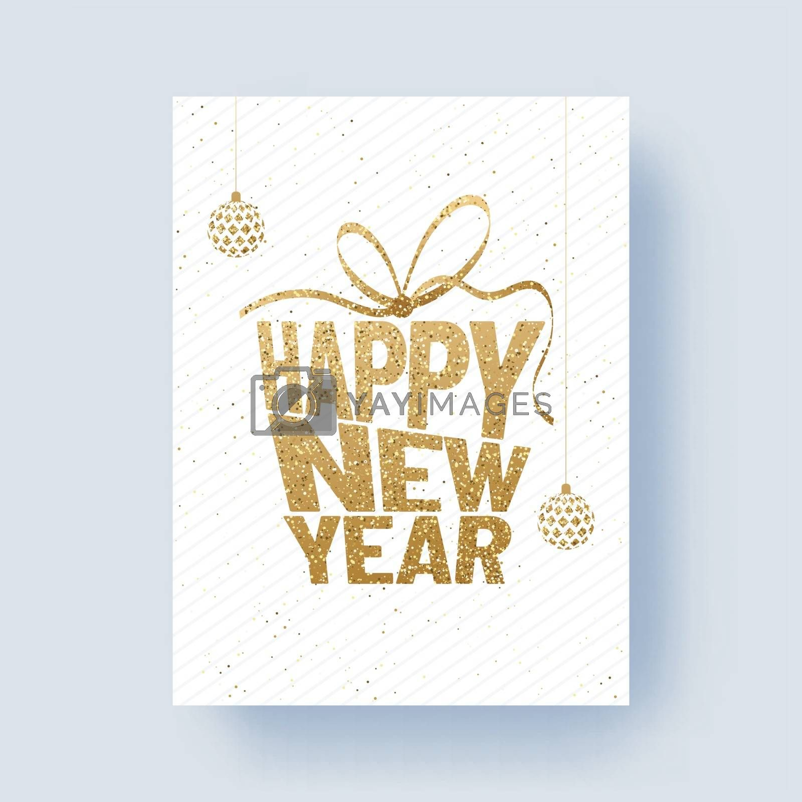 Glittering text Happy New Year with baubles on white background for 2019 celebration concept.