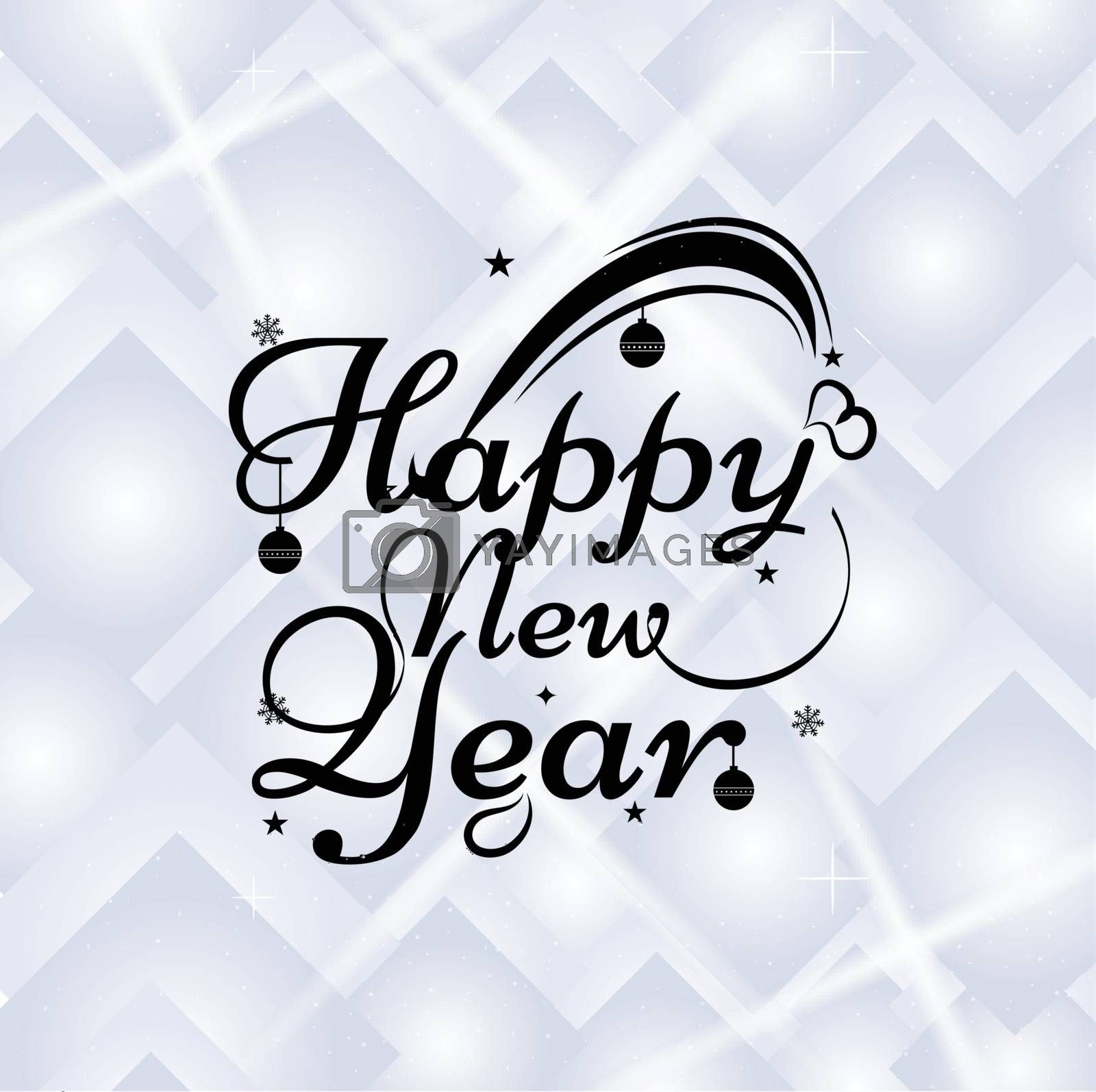 Calligraphy of Happy New Year decorated stars and baubles on shiny abstract background.