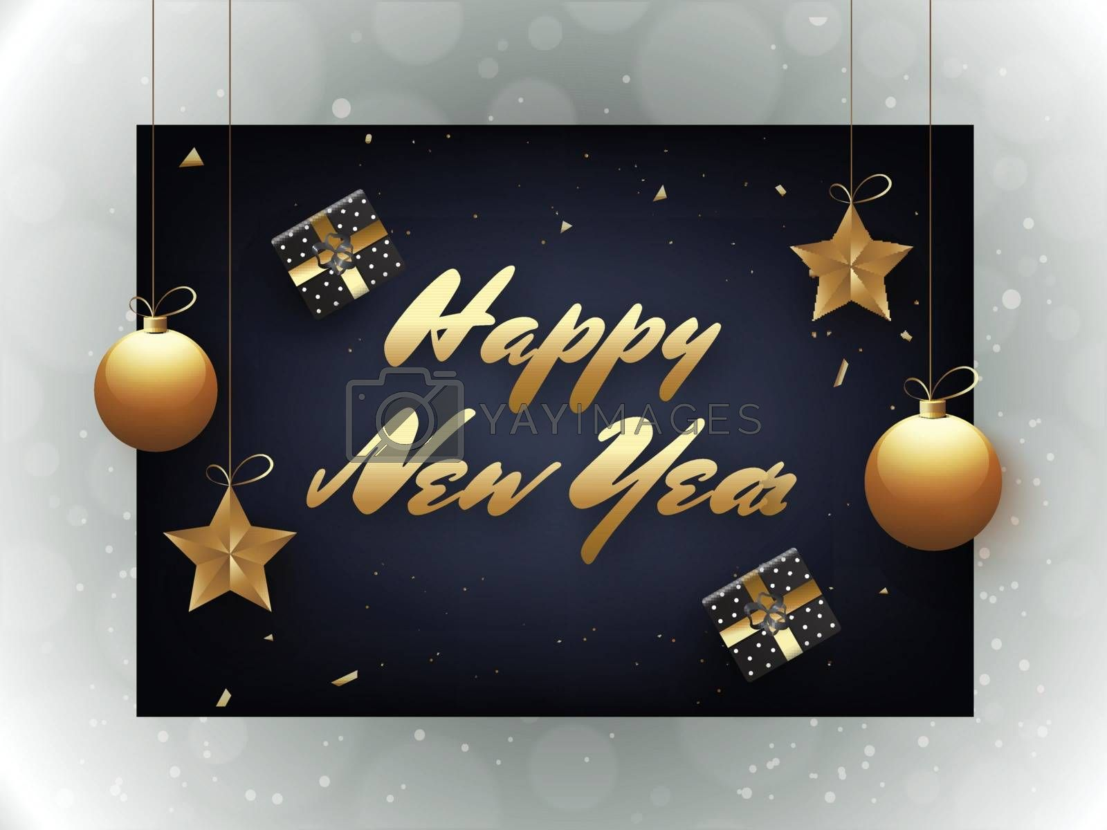 Stylish lettering of Happy New Year with stars and baubles hang on blue background. Can be used as greeting card design.