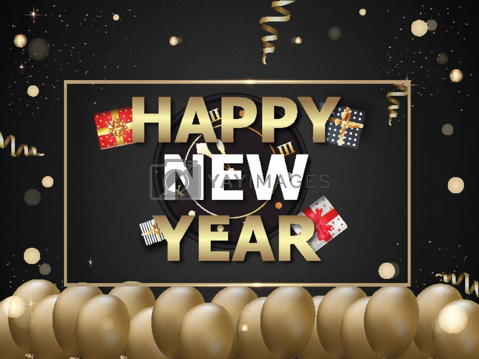 Happy New Year poster or template design decorated with realistic balloons and gift boxes on glossy black bokeh background.