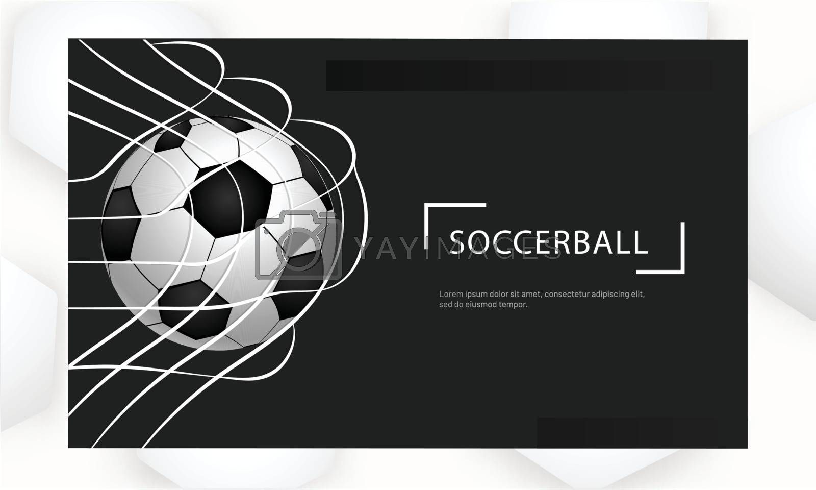 Realistic football in net on black background for soccer tournament concept based poster or banner design.