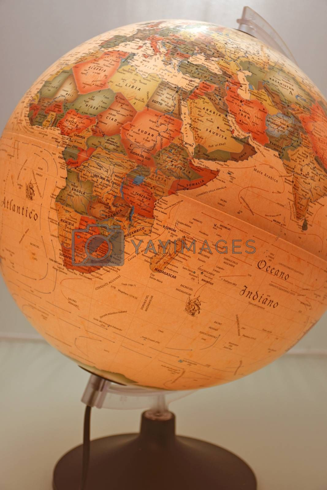 Globe in ancient style that represents Africa and Europe.