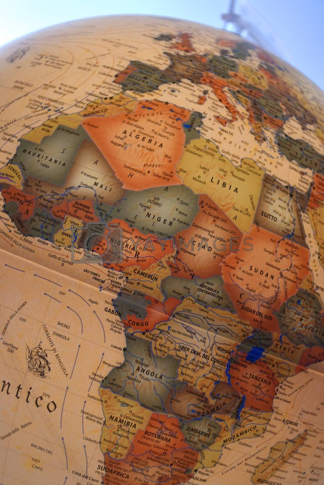 Close-up of a globe with the map of Africa and Europe.