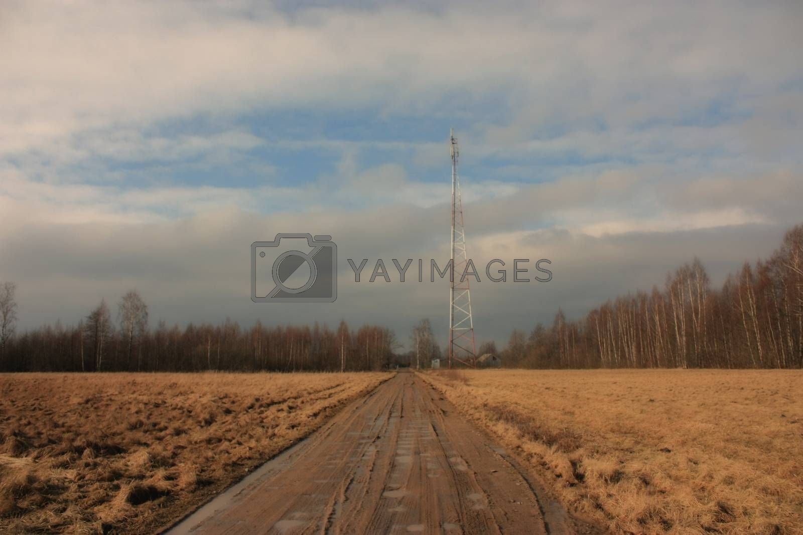 view of the communications tower and road to the forest, against a blue sky with white clouds