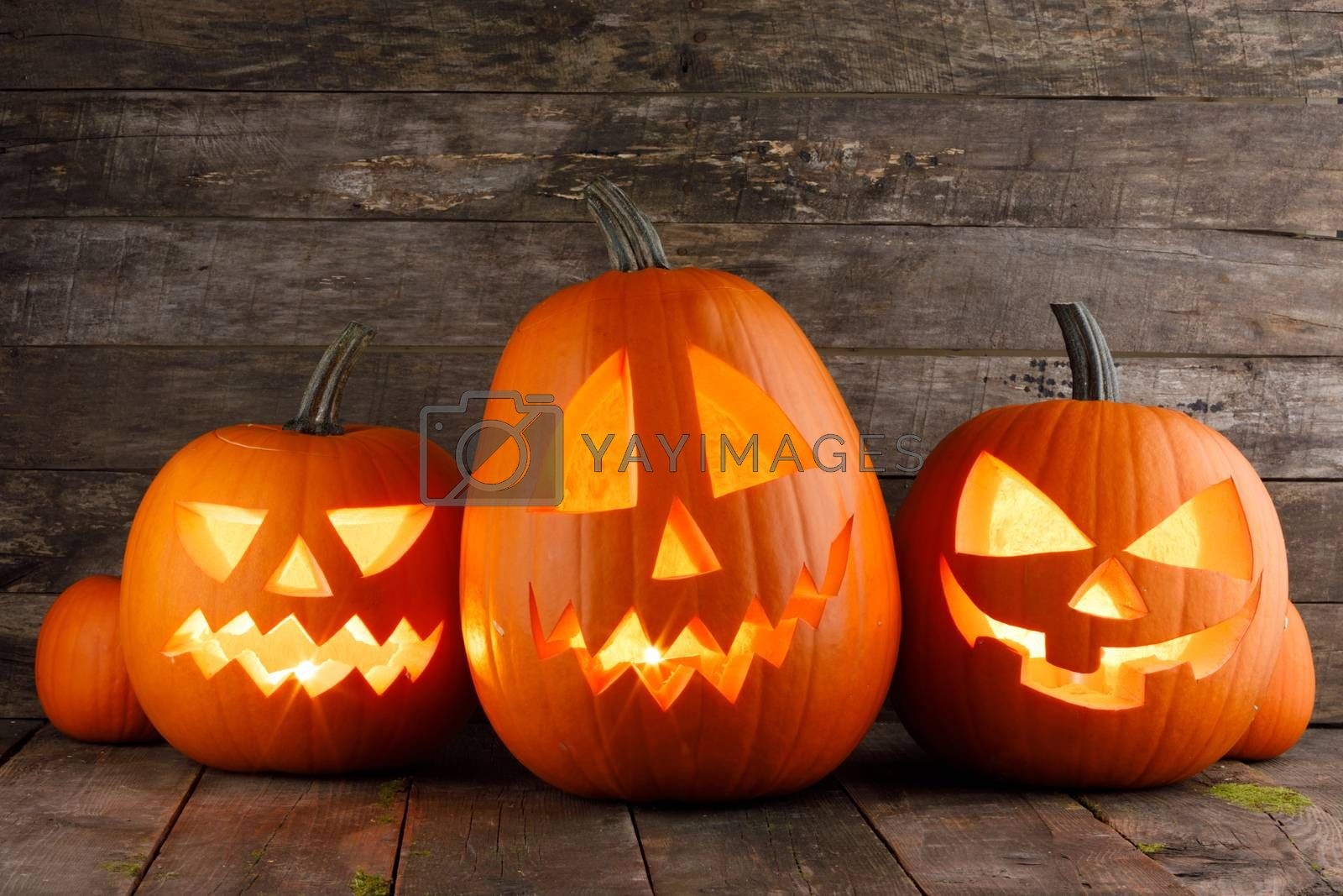 Three Halloween pumpkins head jack o lantern and candles on wooden table background