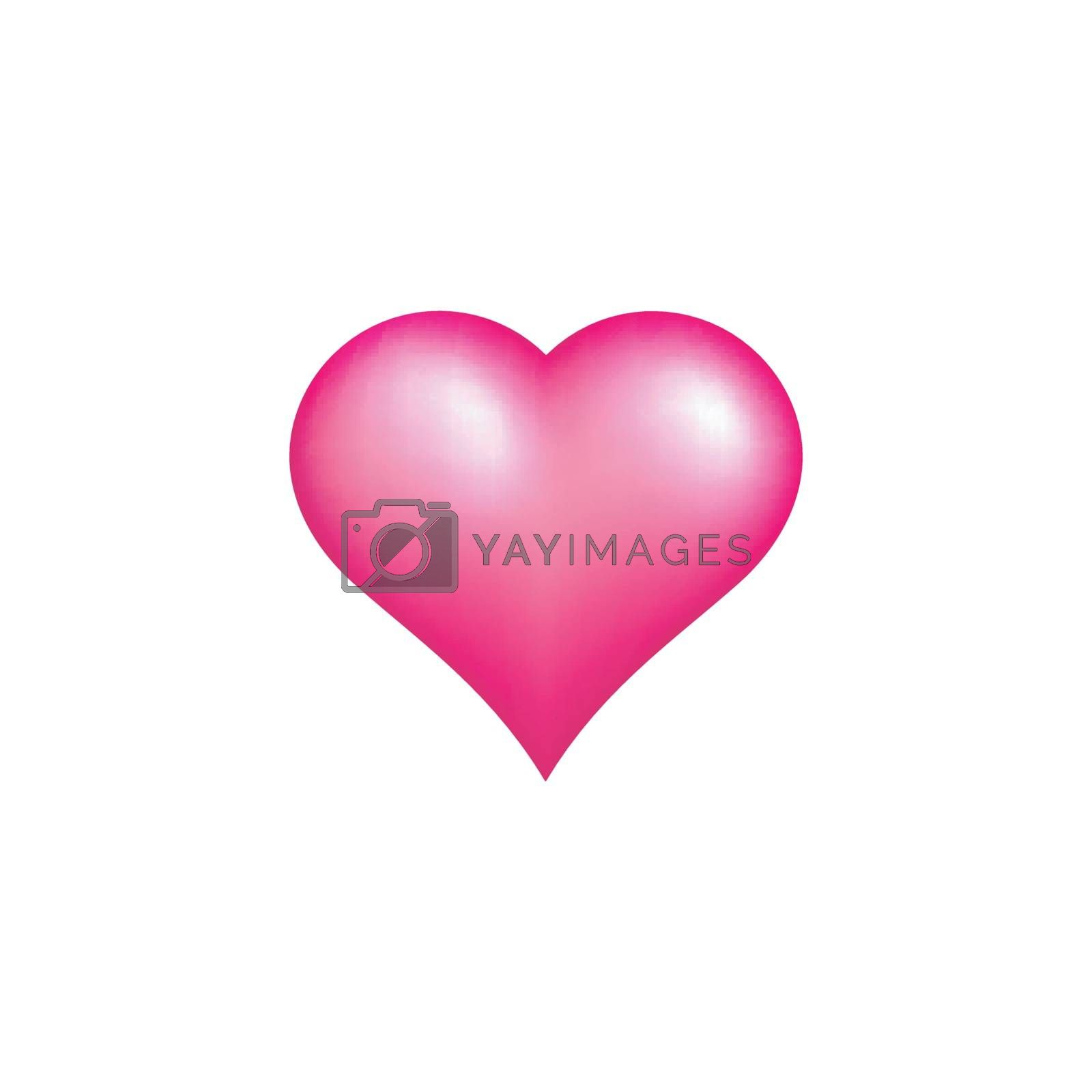 Shiny pink heart icon on white background.