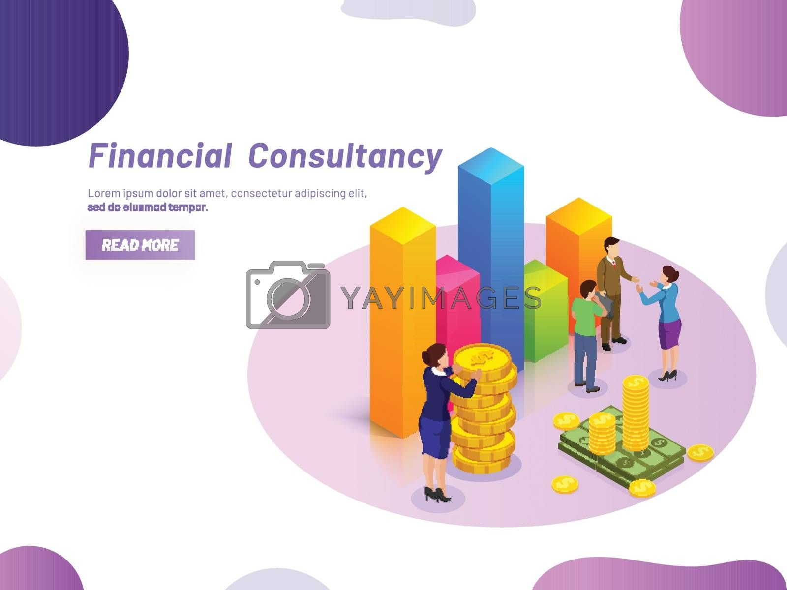 Financial Consultancy concept, miniature lady consultant providing monetary solution to business people, Responsive web template design.