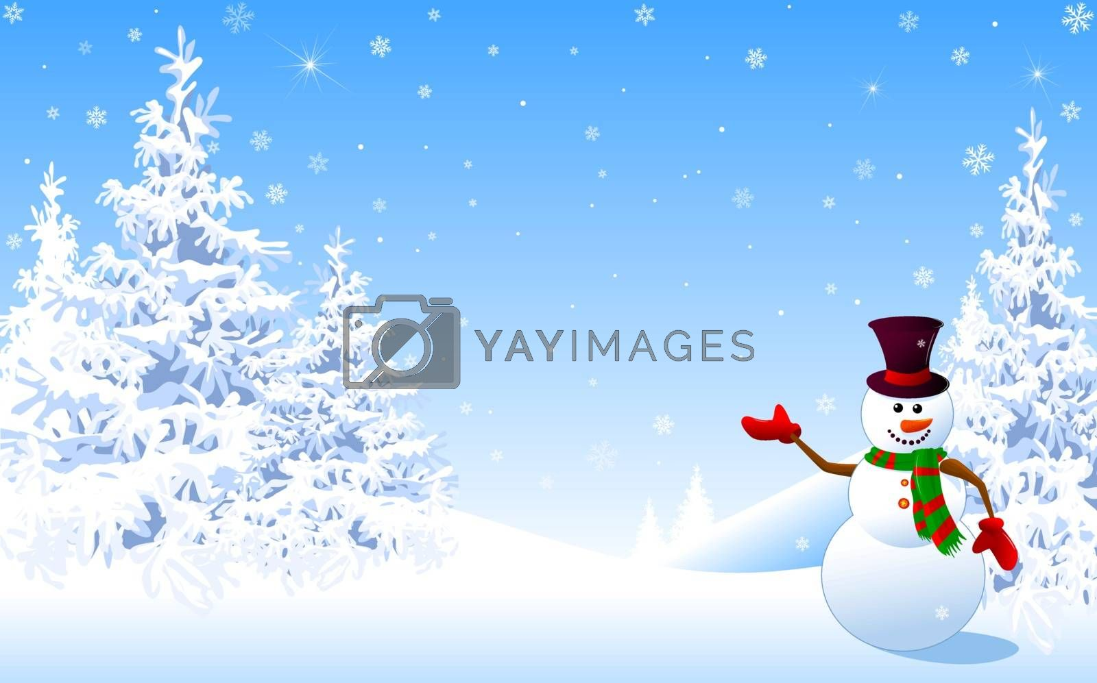 Snowman in a hat welcomes against the backdrop of a winter snowy forest. Snowman on the background of fir trees and snowflakes. Christmas invitation. Greeting card for Christmas and New Year.