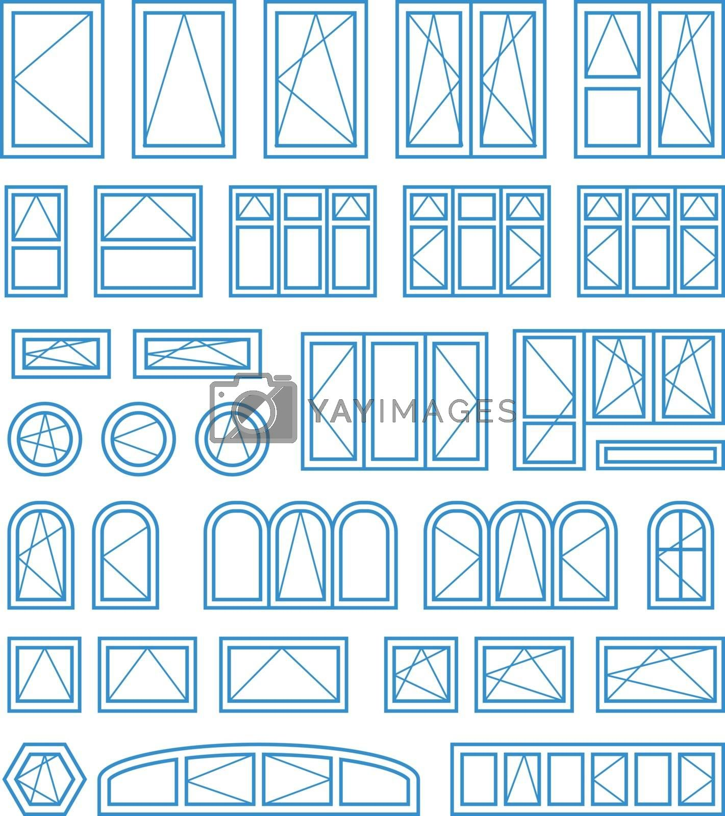 Types of opening and closing windows and doors. Vector illustration on white background