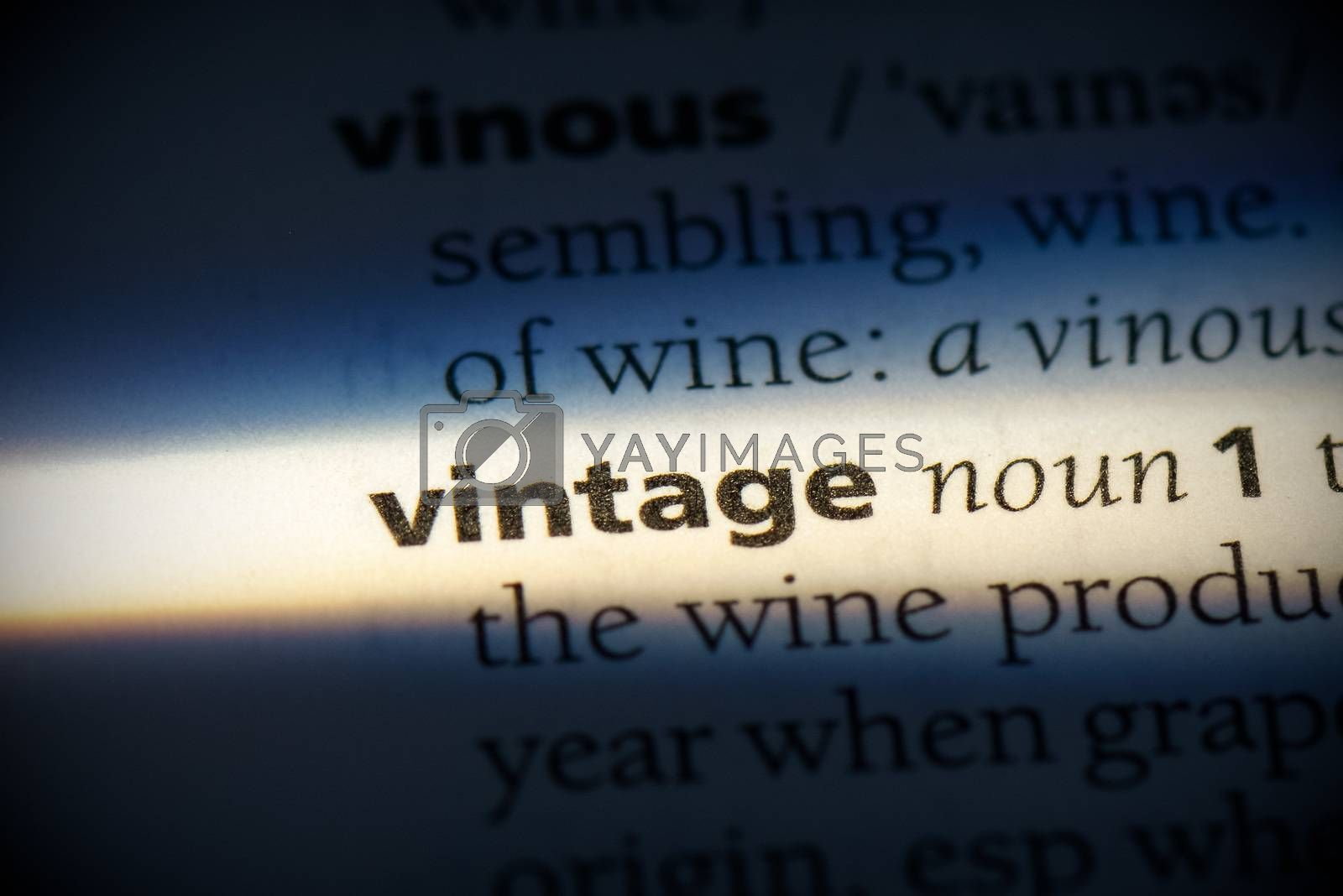 vintage word in a dictionary. vintage concept, definition.