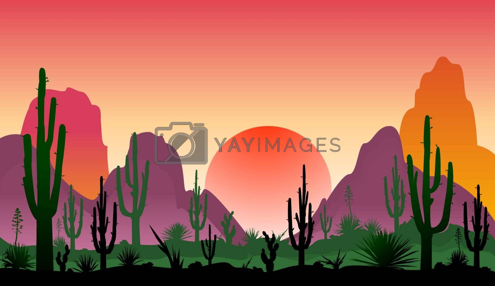Landscape of rocky desert with cacti by liolle