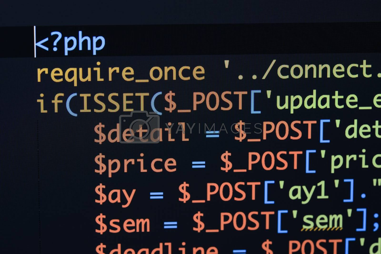 Real Php code developing screen. Programing workflow abstract algorithm concept. Lines of Php code visible.
