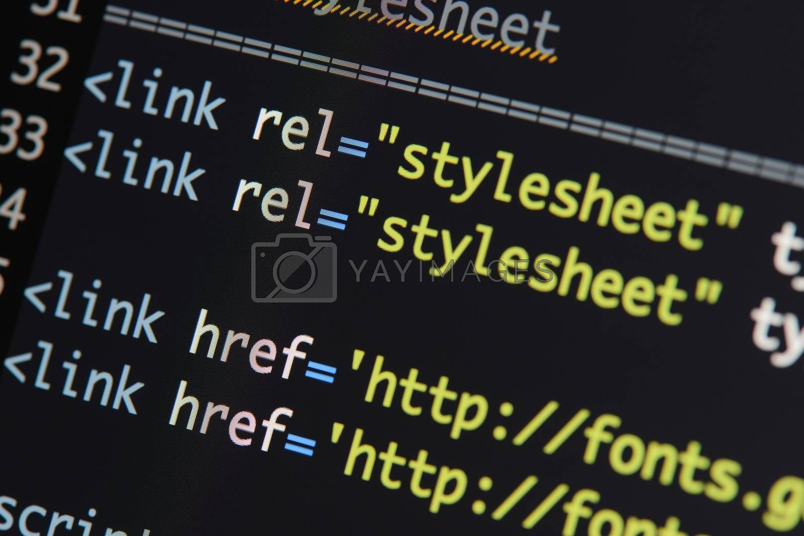 Real Html code developing screen. Programing workflow abstract algorithm concept. Lines of Html code visible.