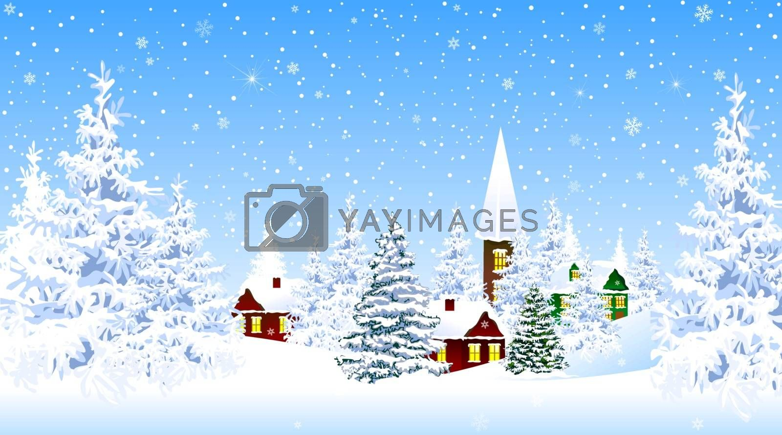 Winter rural landscape. The night eve Christmas. Village, snow, forest. Shining stars and snowflakes in the night sky. Christmas winter night scene. Winter background.
