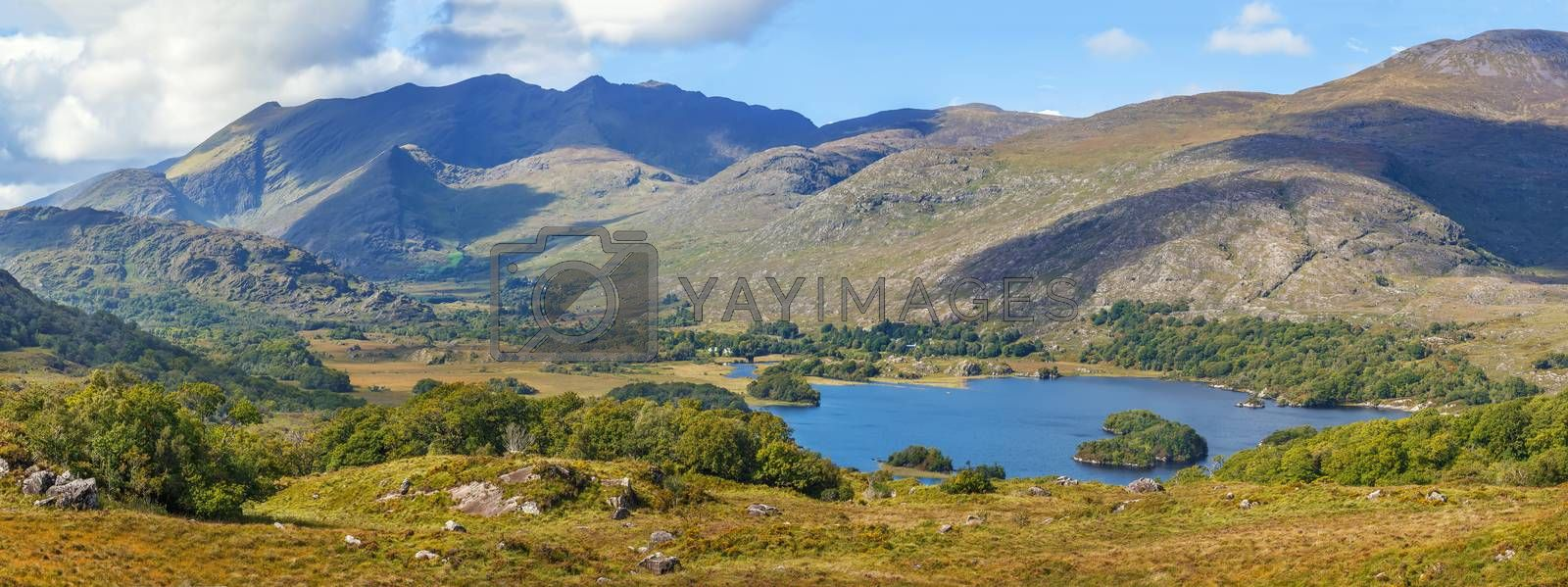 Panoramic landscape from Ladies View is a scenic viewpoint on the Ring of Kerry tourist route. Ireland