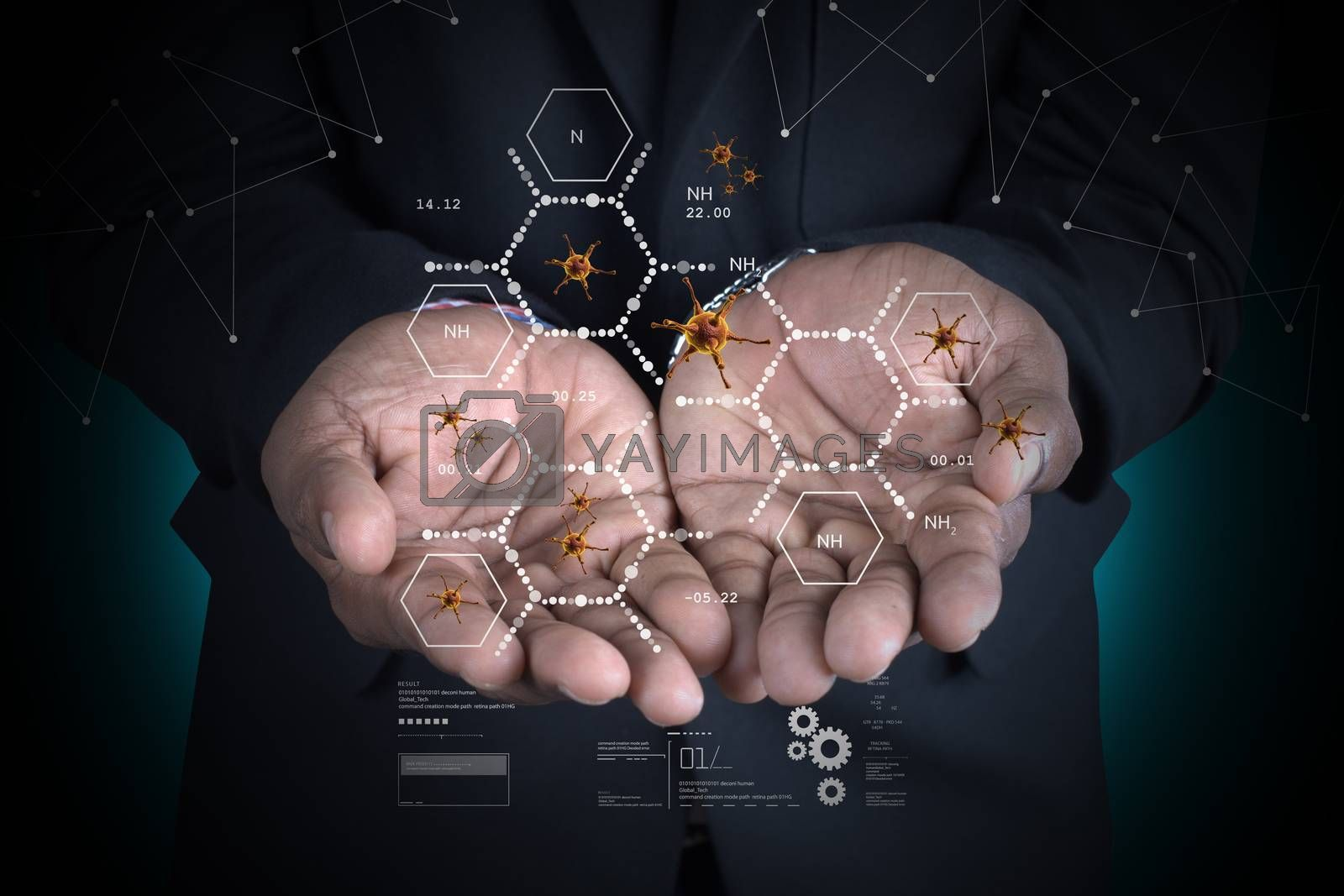 Man showing 3d virus with molecules