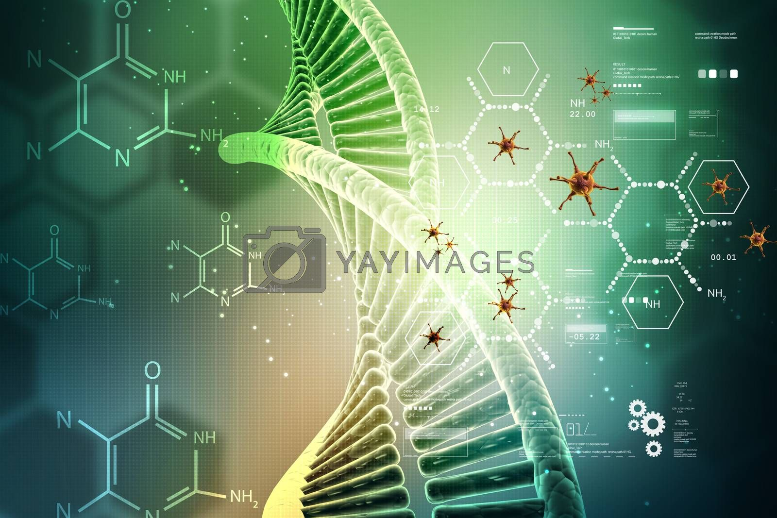 Dna structure with virus
