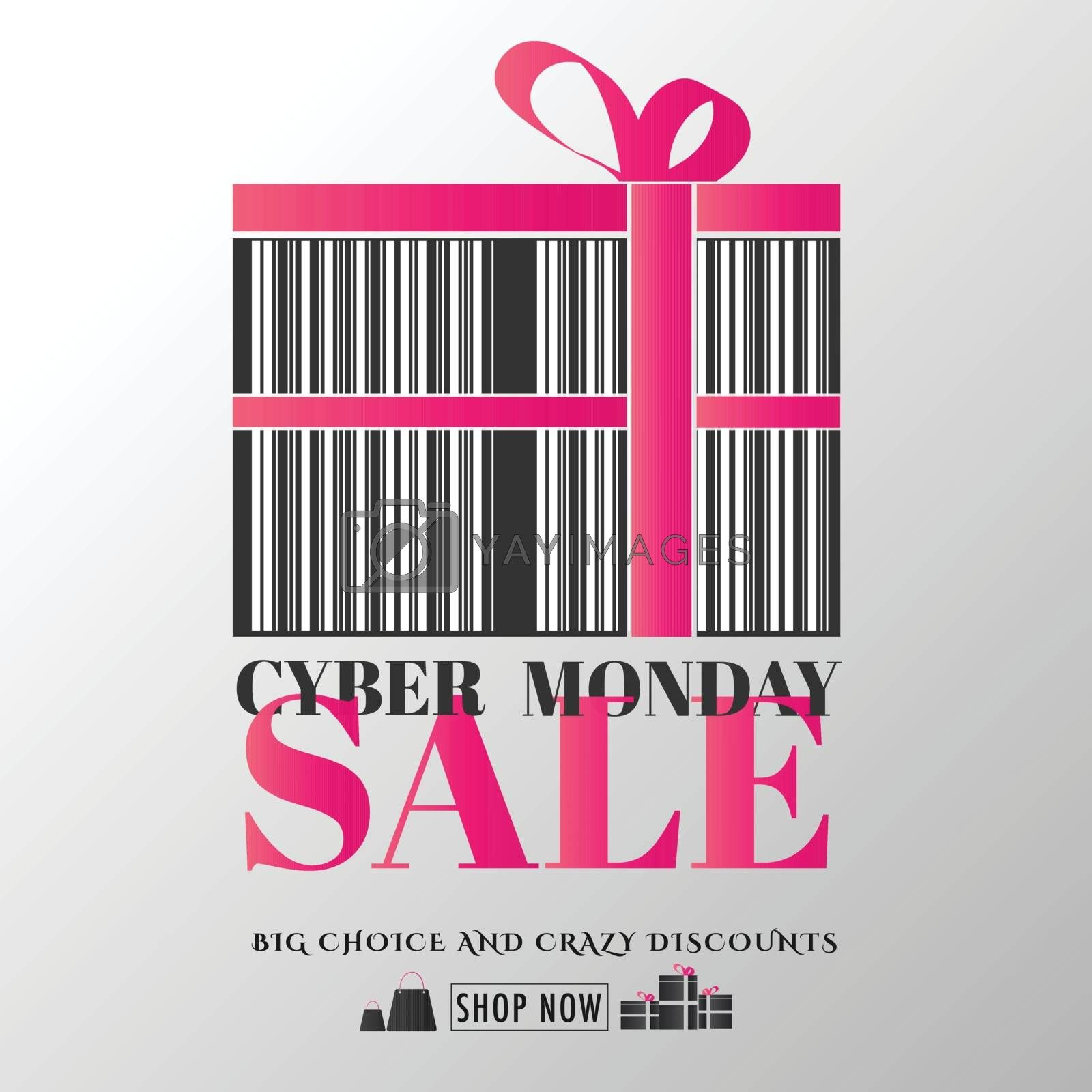 Barcode style gift box with pink ribbon on glossy white background. Template or flyer design for Cyber Monday Sale.