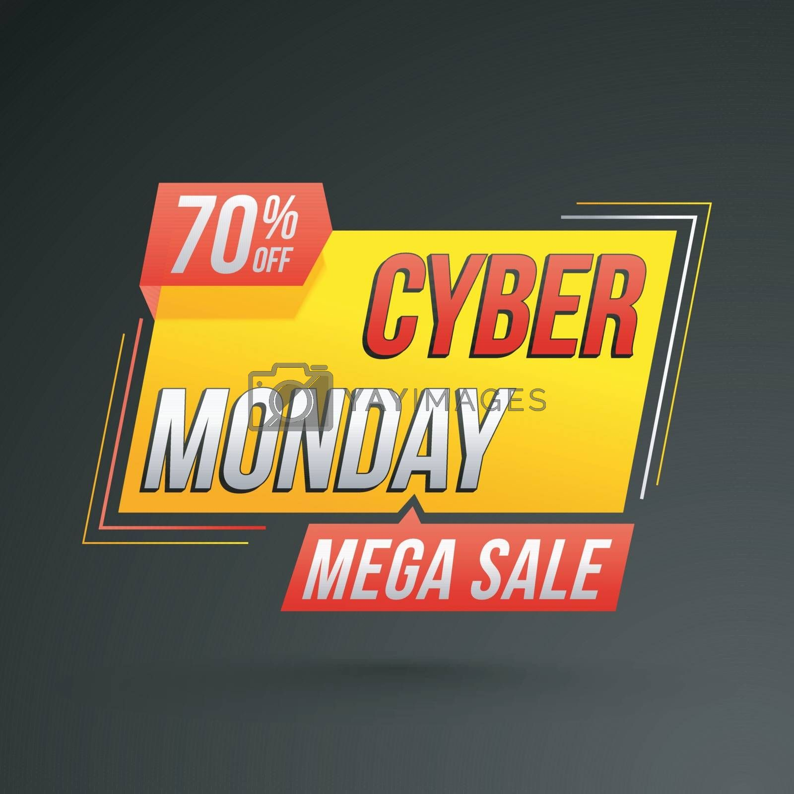 Mega sale template or flyer design with 70% discount offer for Cyber Monday Sale.