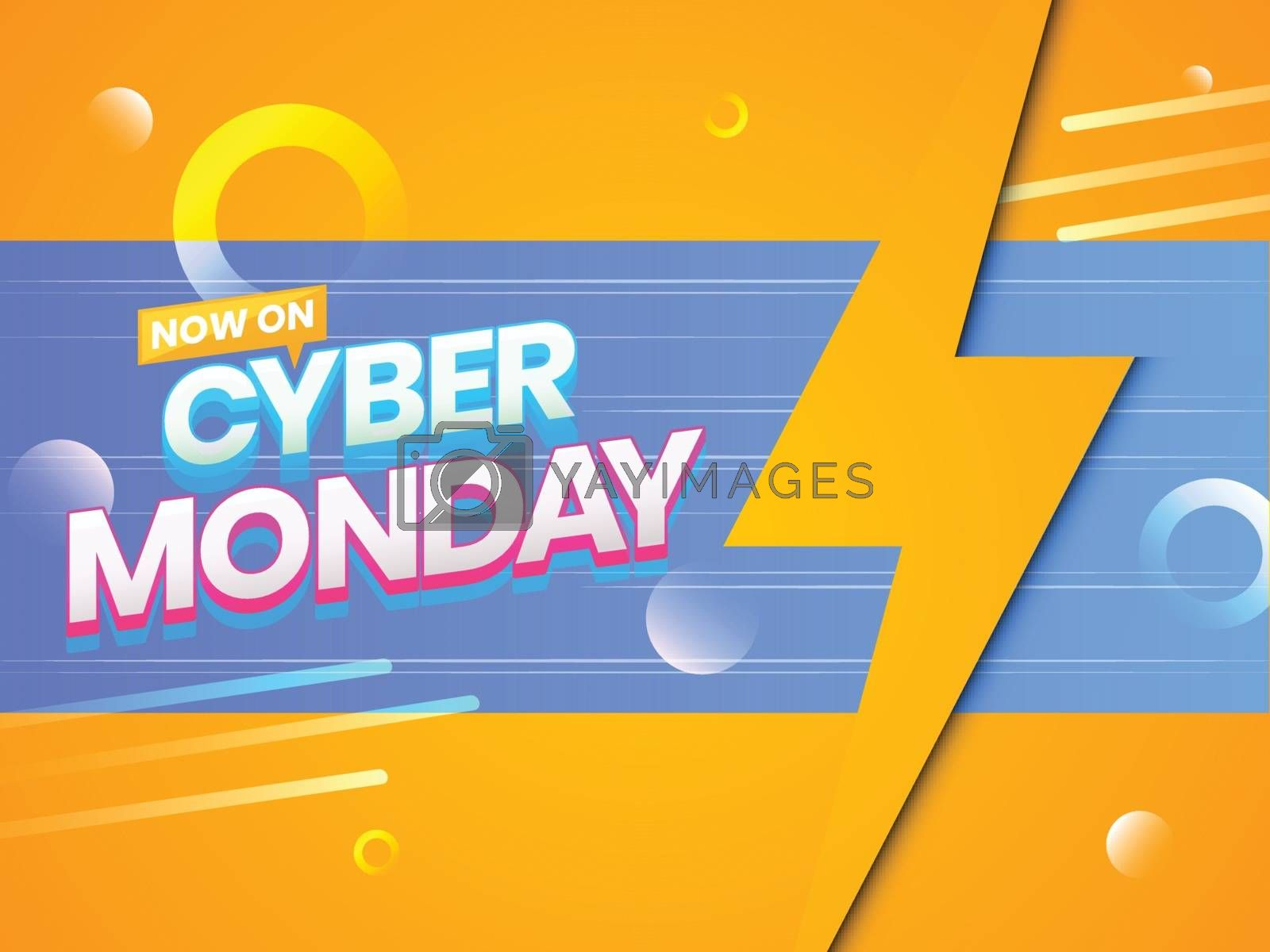 Creative poster or template design with text Cyber Monday and abstract elements on shiny orange background.