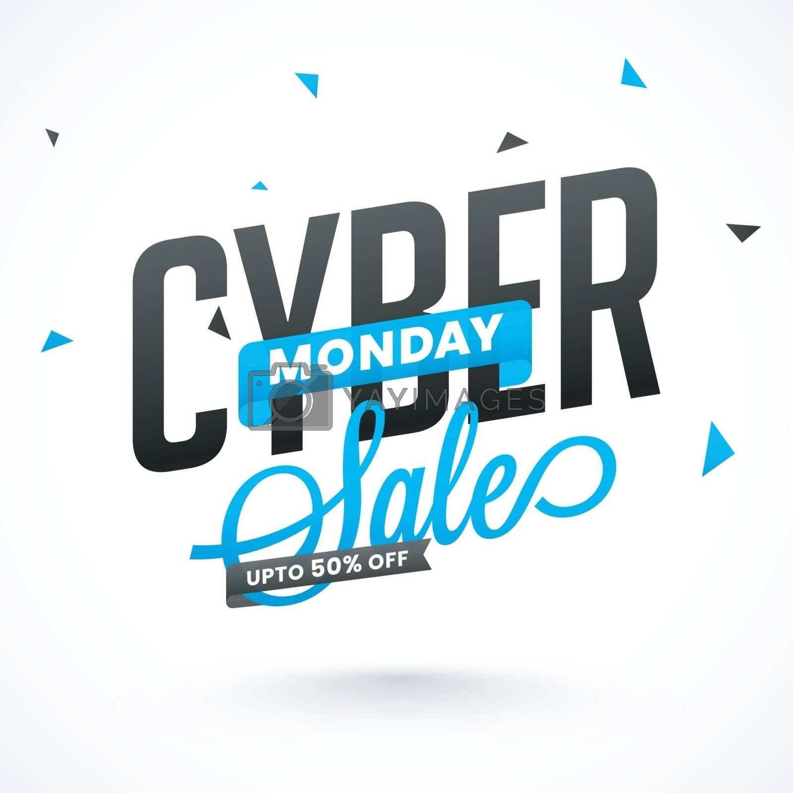 Stylish lettering of lettering Cyber Monday Sale with 50% discount offer on white background. Advertising template or flyer design.