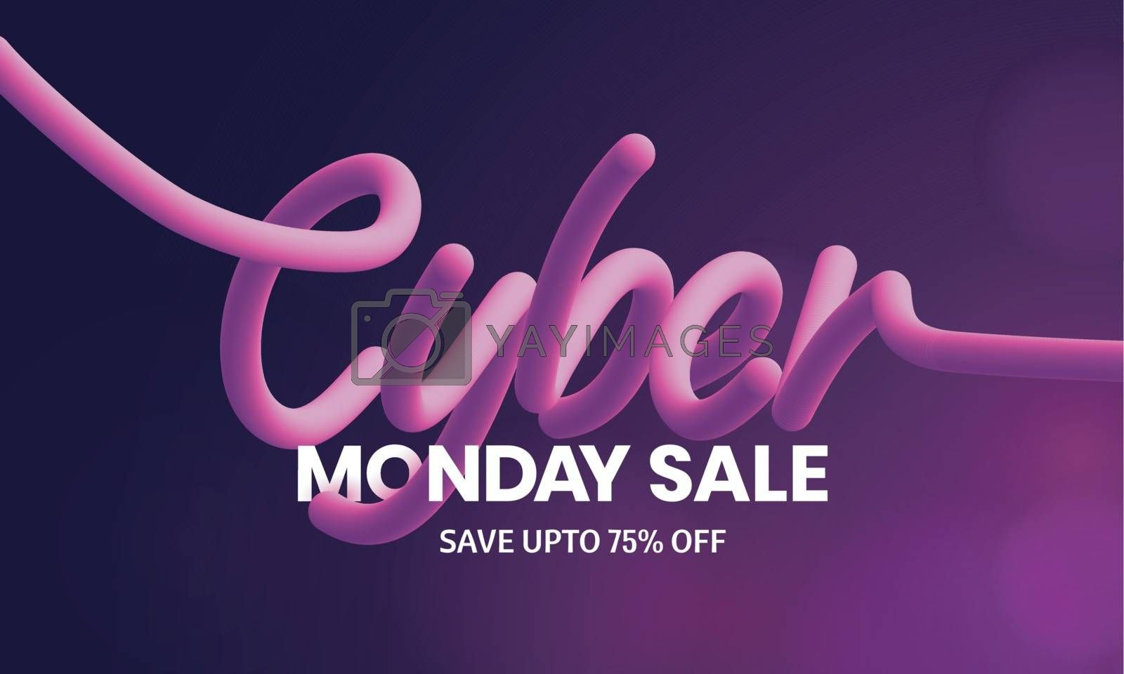 Creative, stylish lettering of Cyber on glossy purple background with 75% discount offer for sale poster or template design.