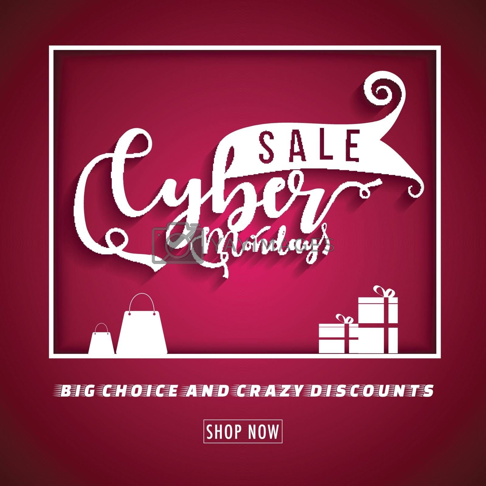 Website template or flyer design with shopping bags and gift boxes on red background for Cyber Monday Sale.