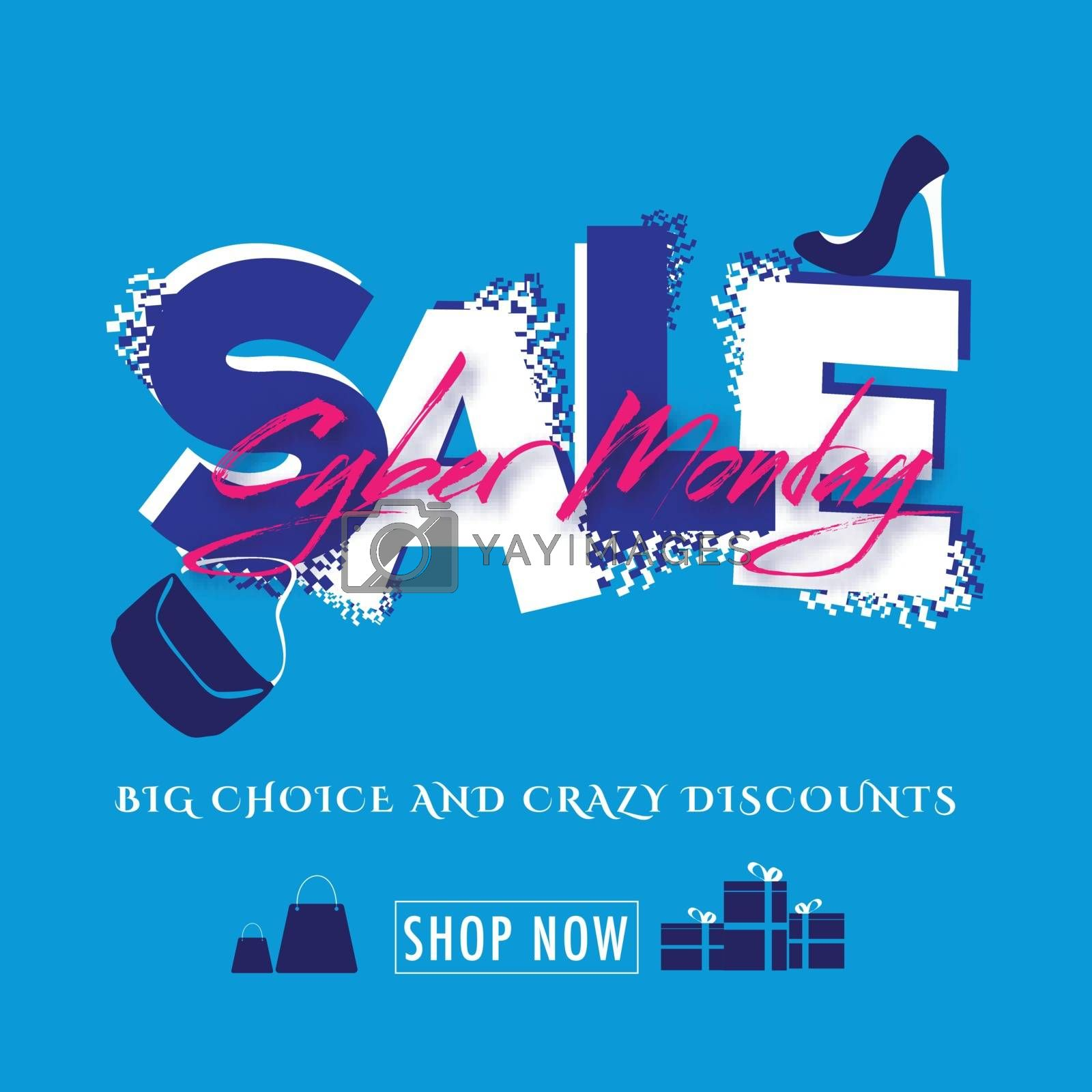 Advertising template or flyer design with creative lettering of Cyber Monday Sale on blue background.