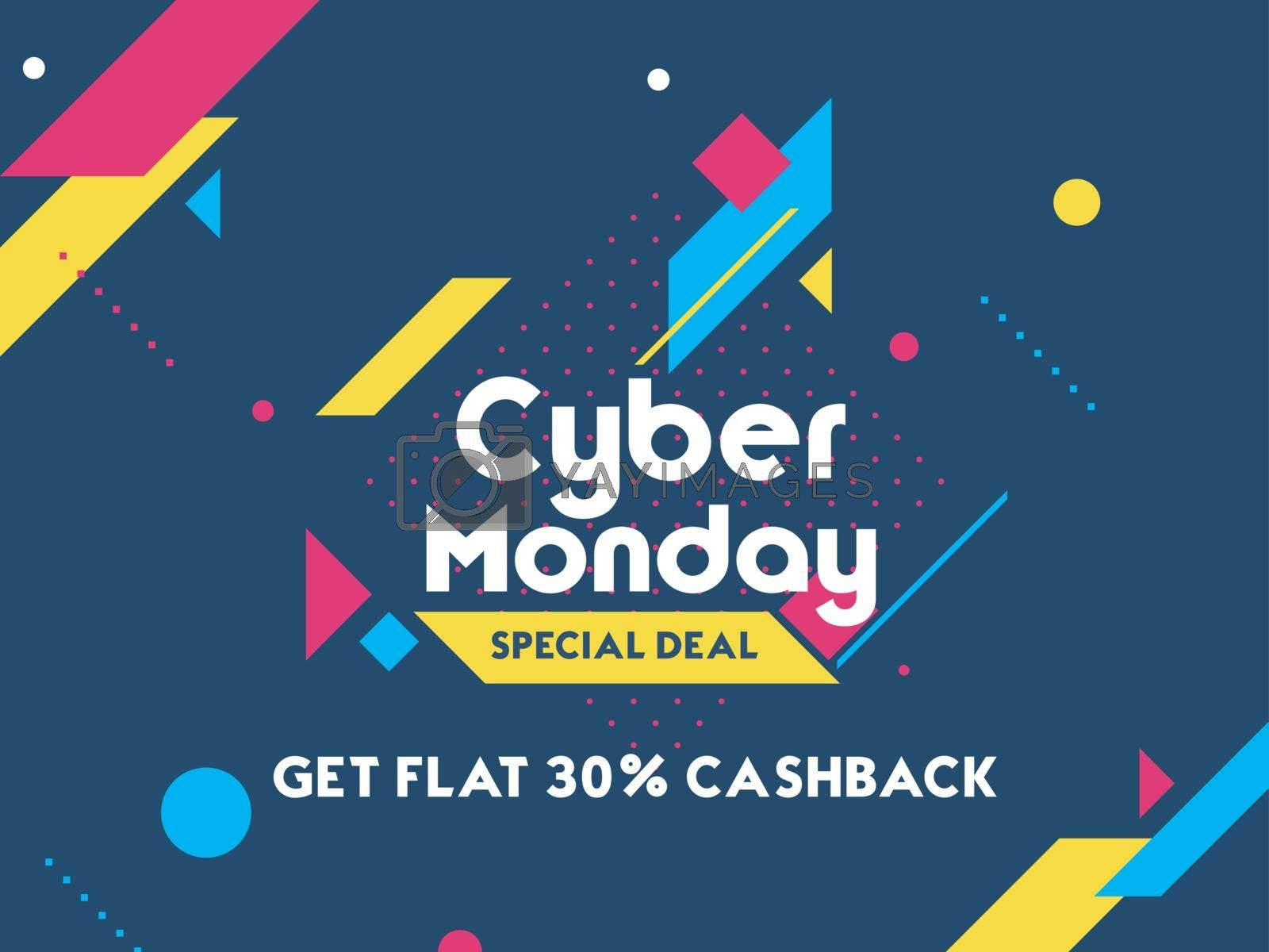 Get 30% cashback on Cyber Monday Sale. Advertising poster or banner design with abstract elements on blue background.