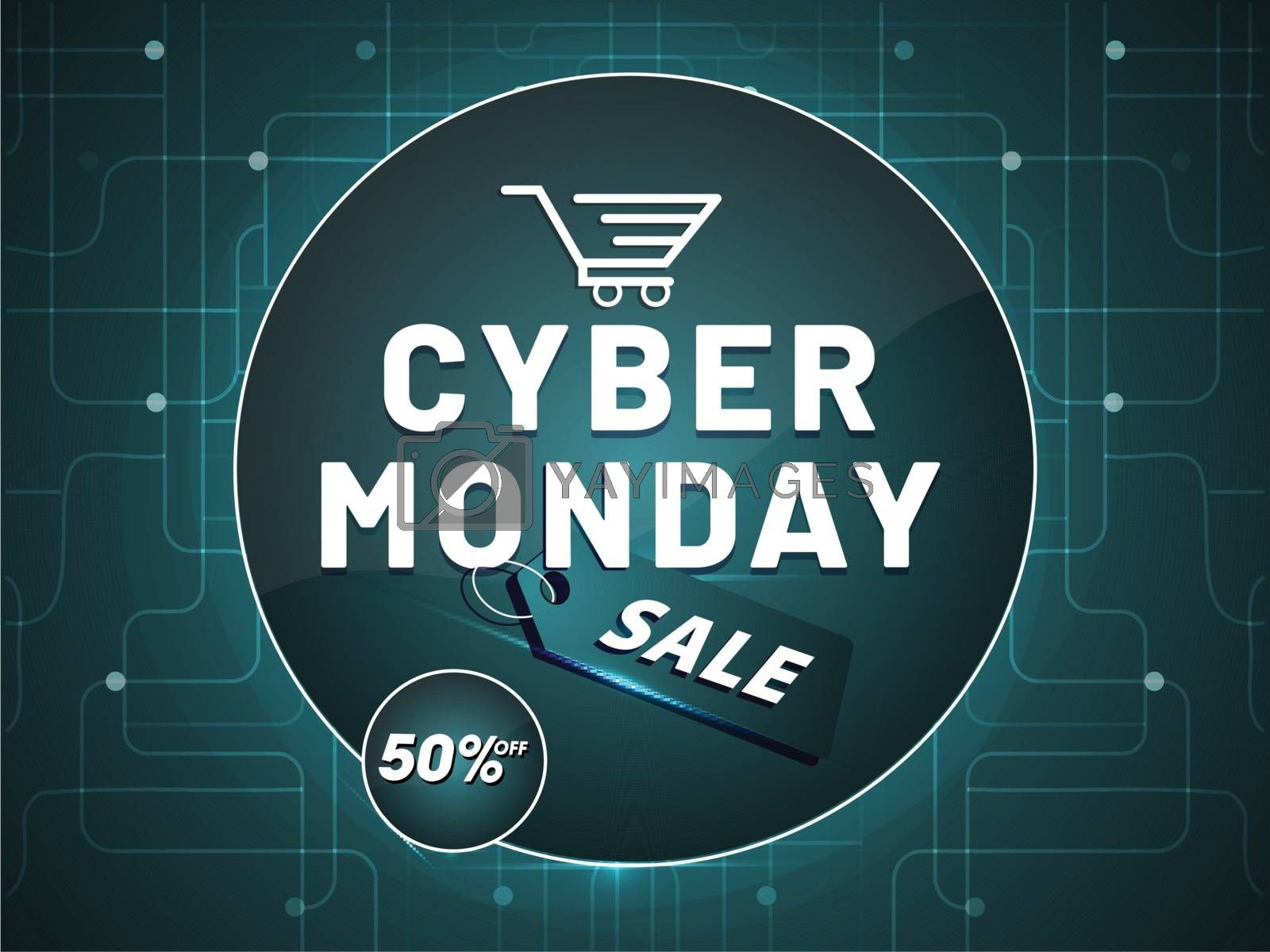 Cyber Monday Sale with tag and 50% discount offer on neural background, poster or banner design for advertisement concept.