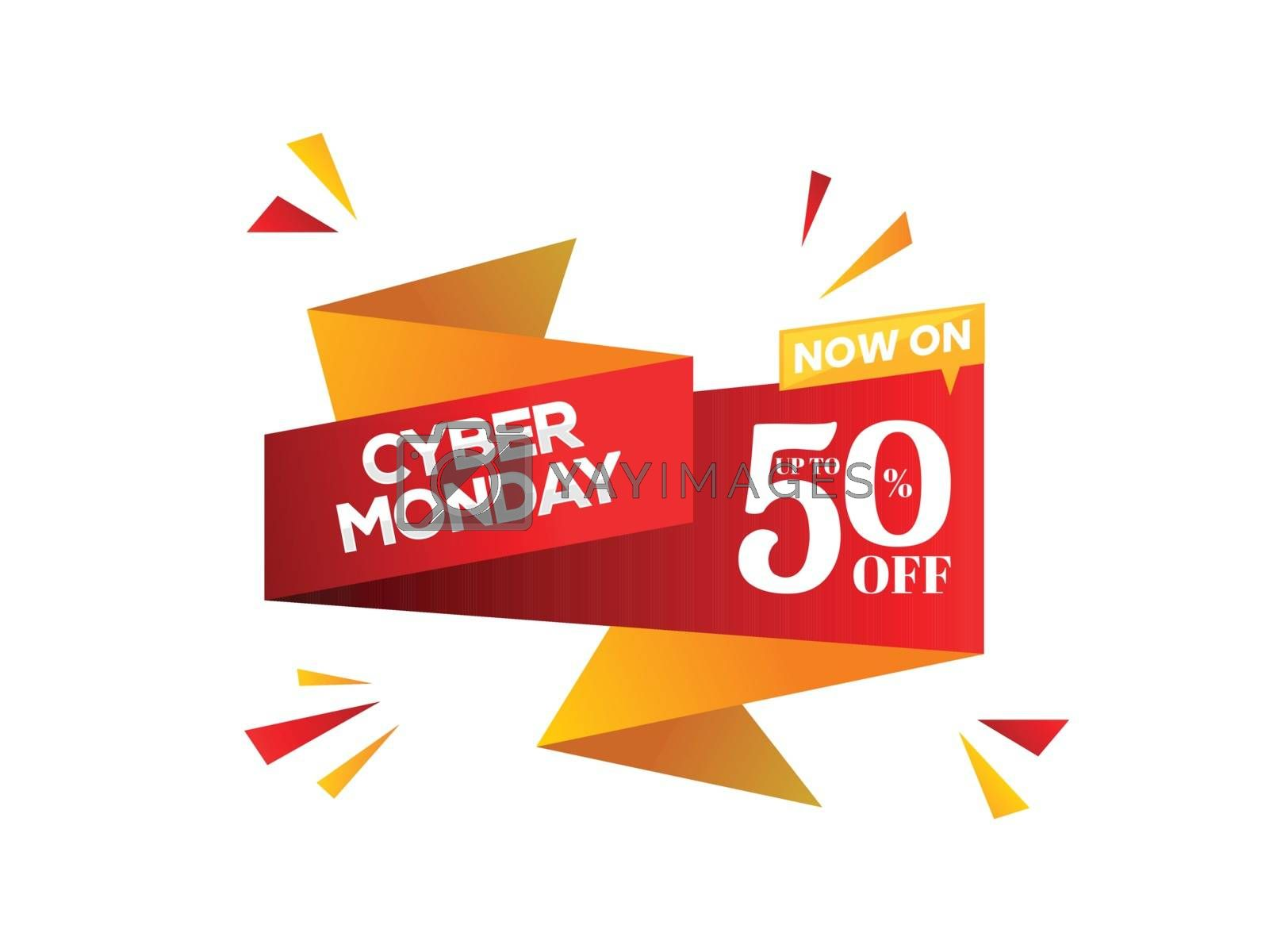 Sale ribbon or tag design with 50% discount offer on white background for Cyber Monday Sale.