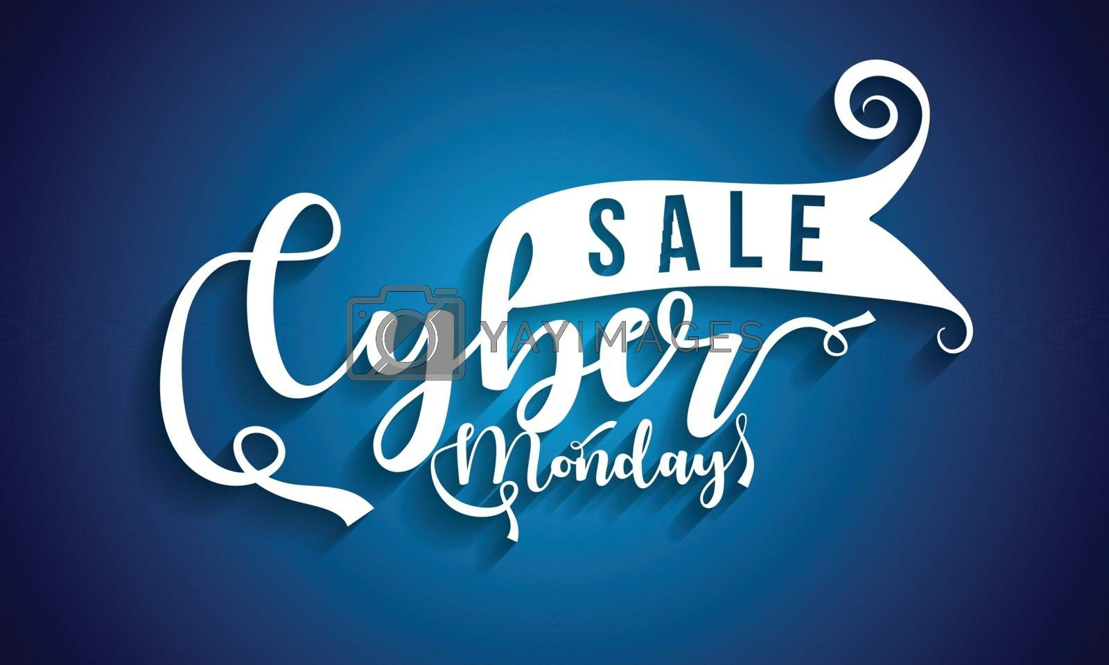 Creative text Cyber Monday Sale on white background. Poster or template design for advertisement concept.