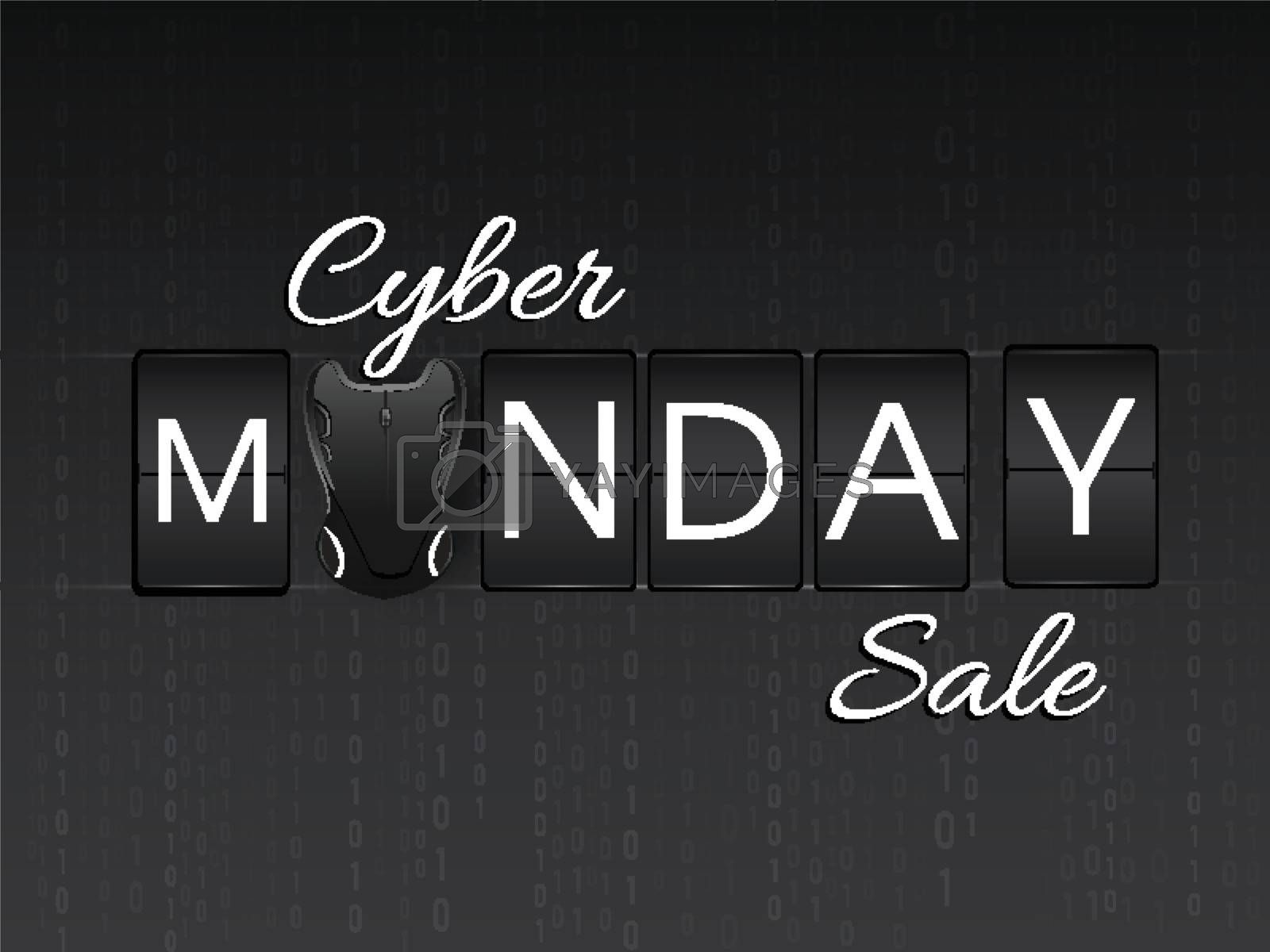 Stylish lettering of Cyber Monday Sale with wireless mouse on black matrix coding background.