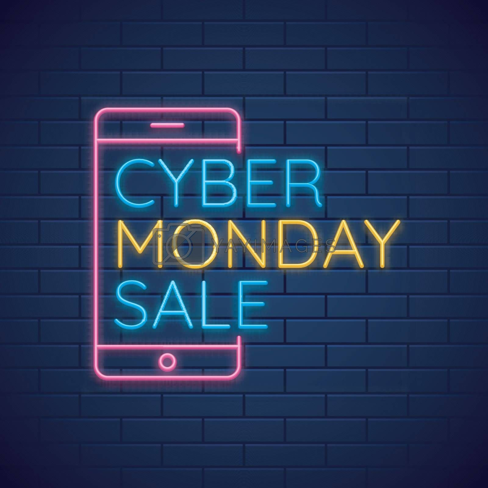 Neon text with Cyber Monday Sale with smartphone on glossy blue background.