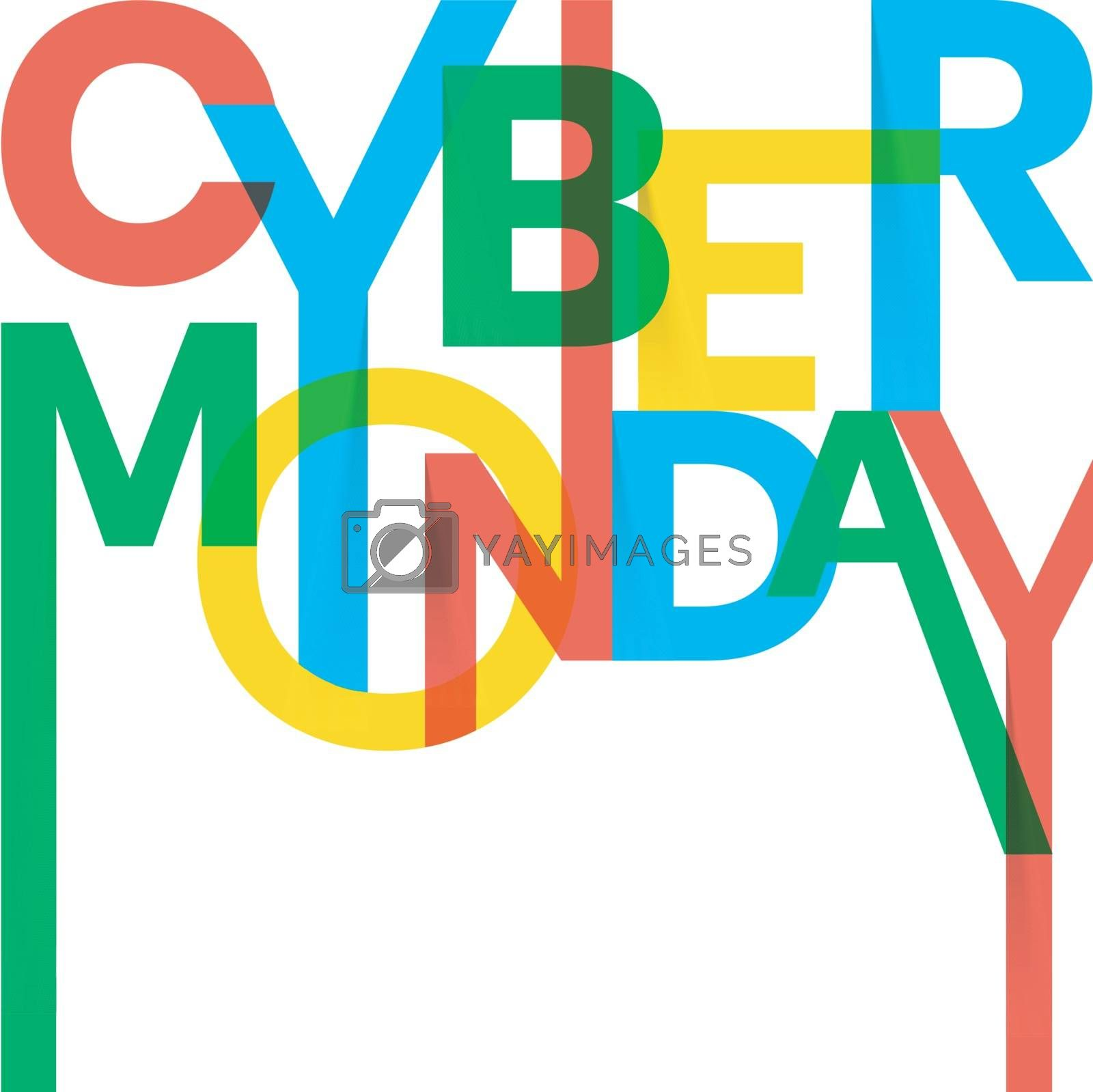 Stylish, colorful text Cyber Monday on white background. by aispl