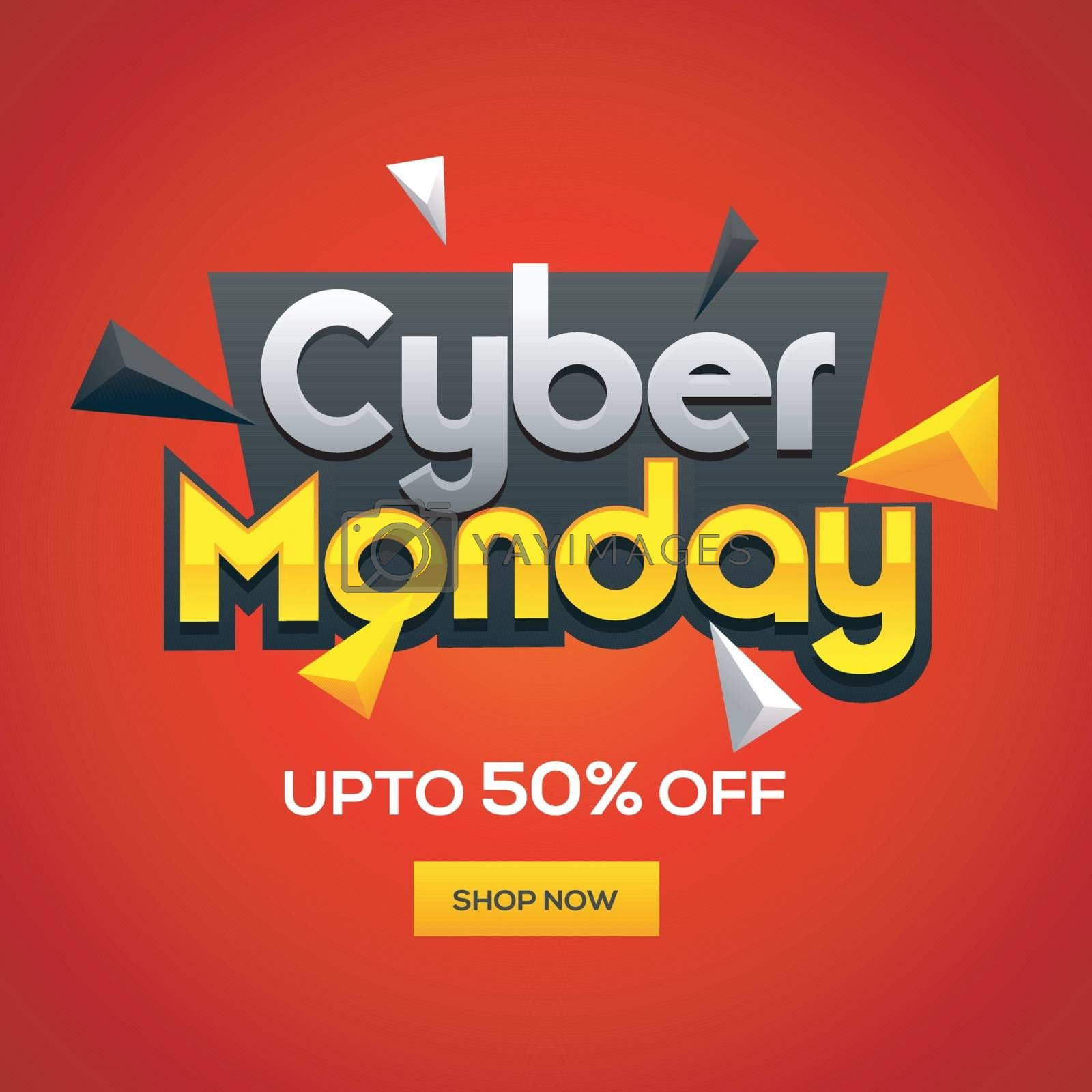Cyber Monday Sale template design with 50% discount offer on glossy red background.