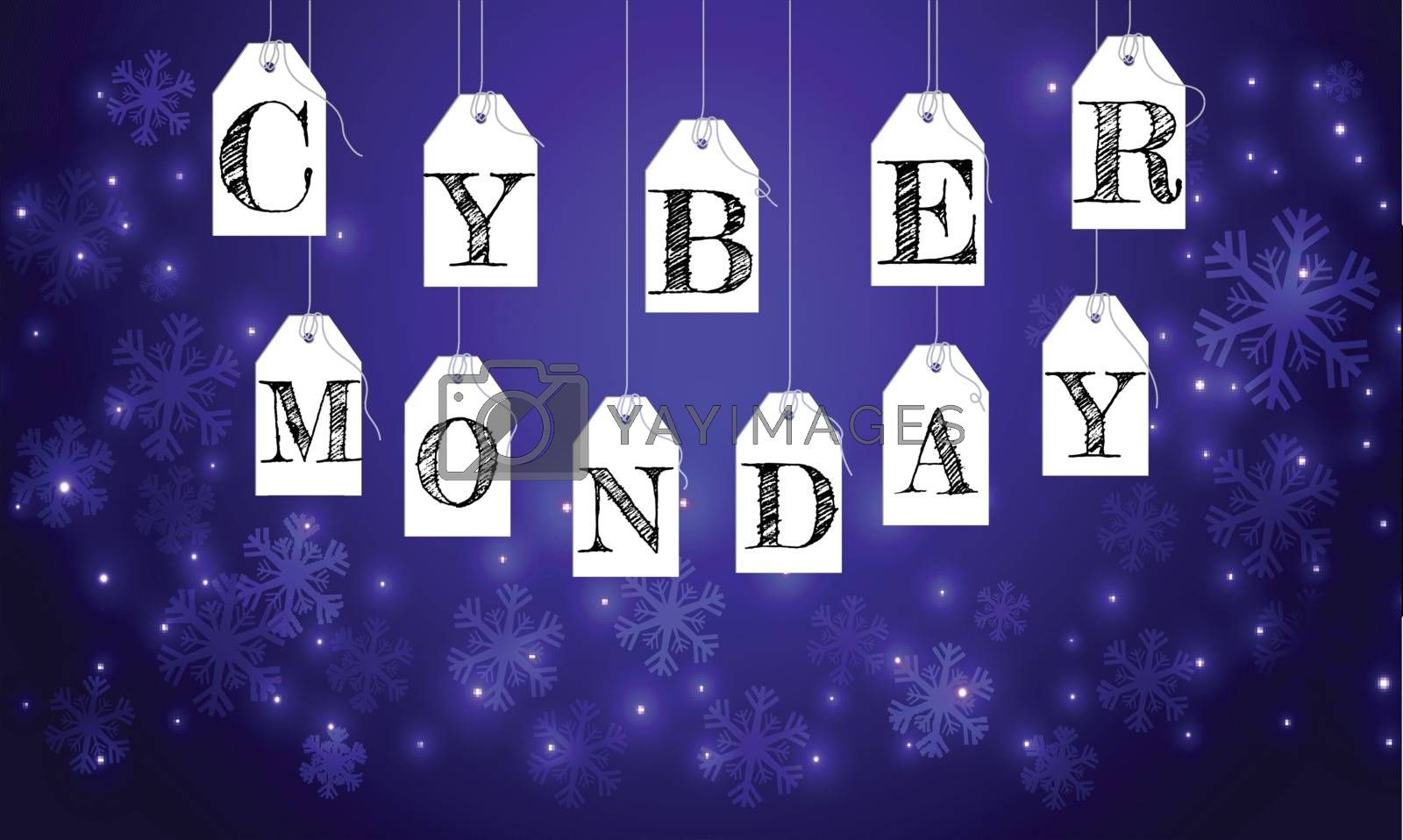 Sale tags hang on glowing blue background with lettering of Cyber Monday, can be used as advertising poster or banner design.