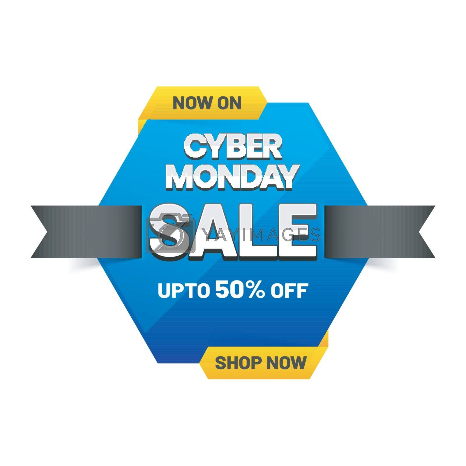 Cyber Monday sale banner or tag with 50% discount offer on white by aispl