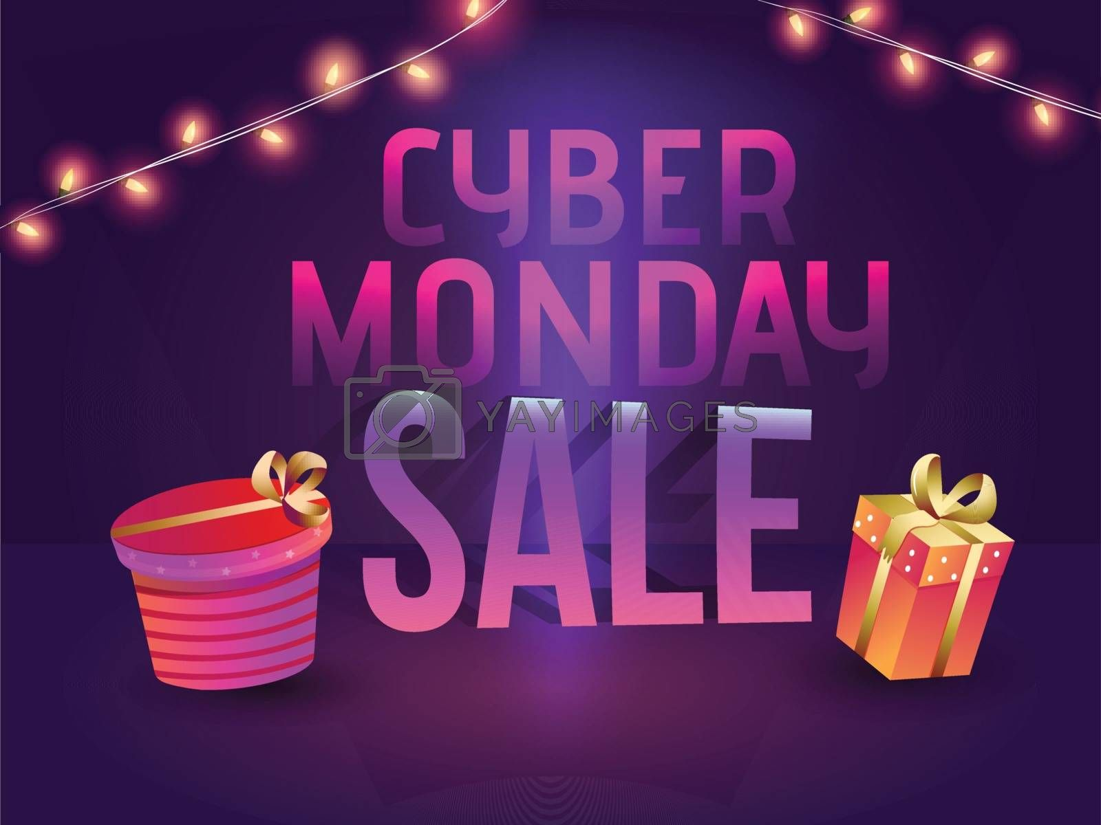 Illustration of gift boxes and lettering of Cyber Monday Sale on glossy purple background for poster or template design.